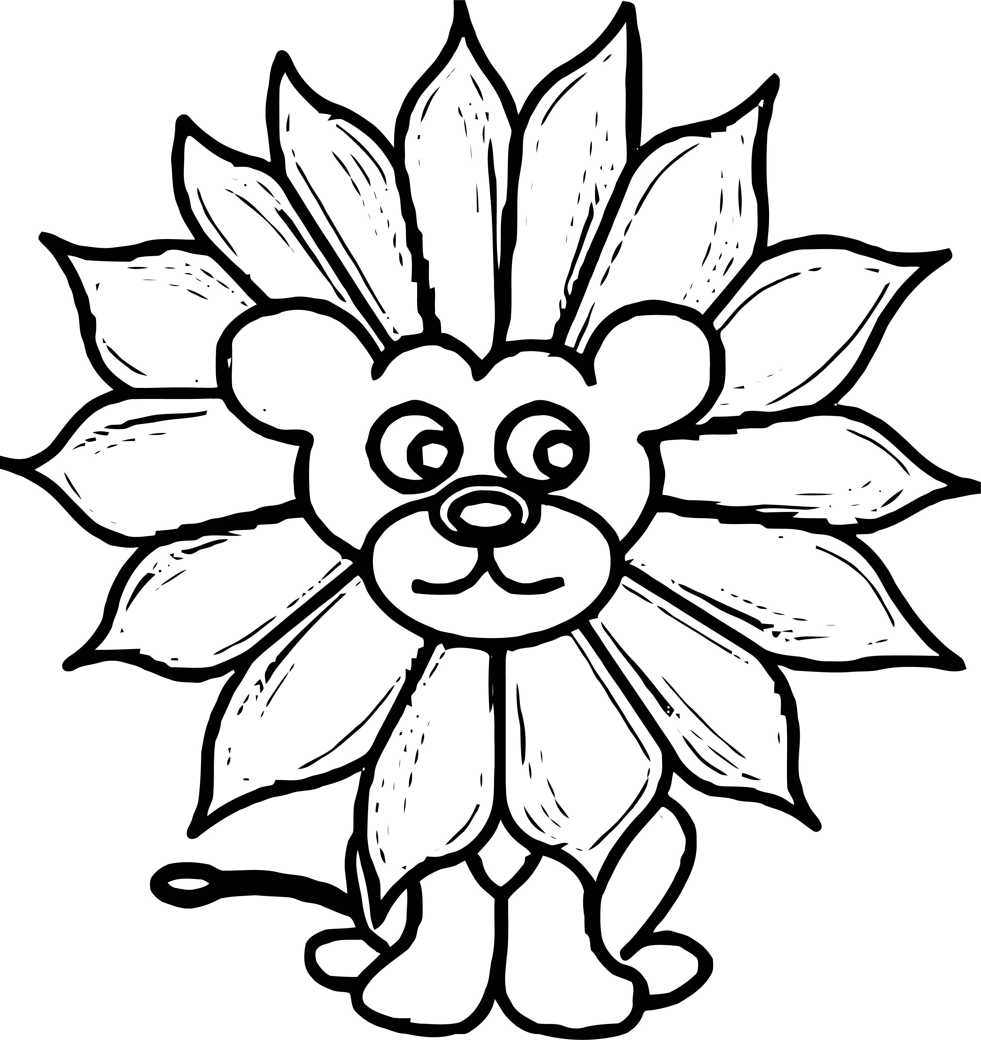 Lion Flower Face Coloring Page