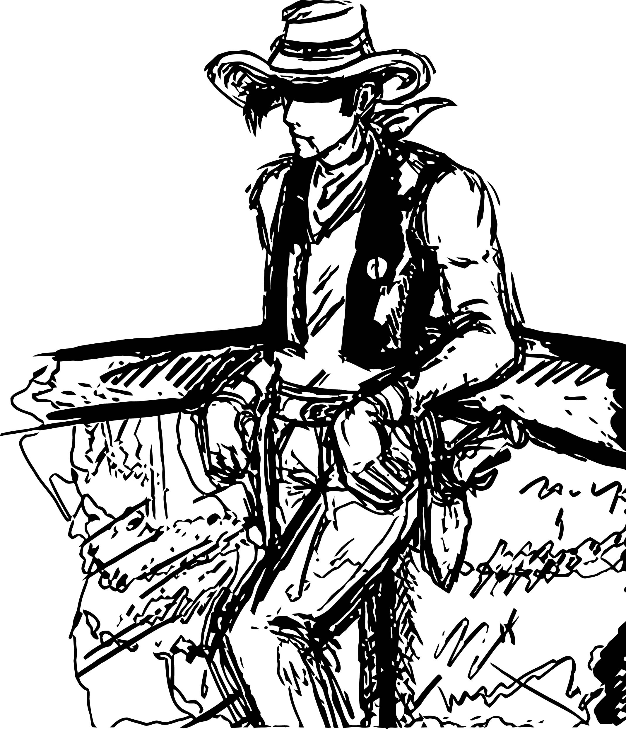 Lucky Luke Sketch Draw Coloring Page