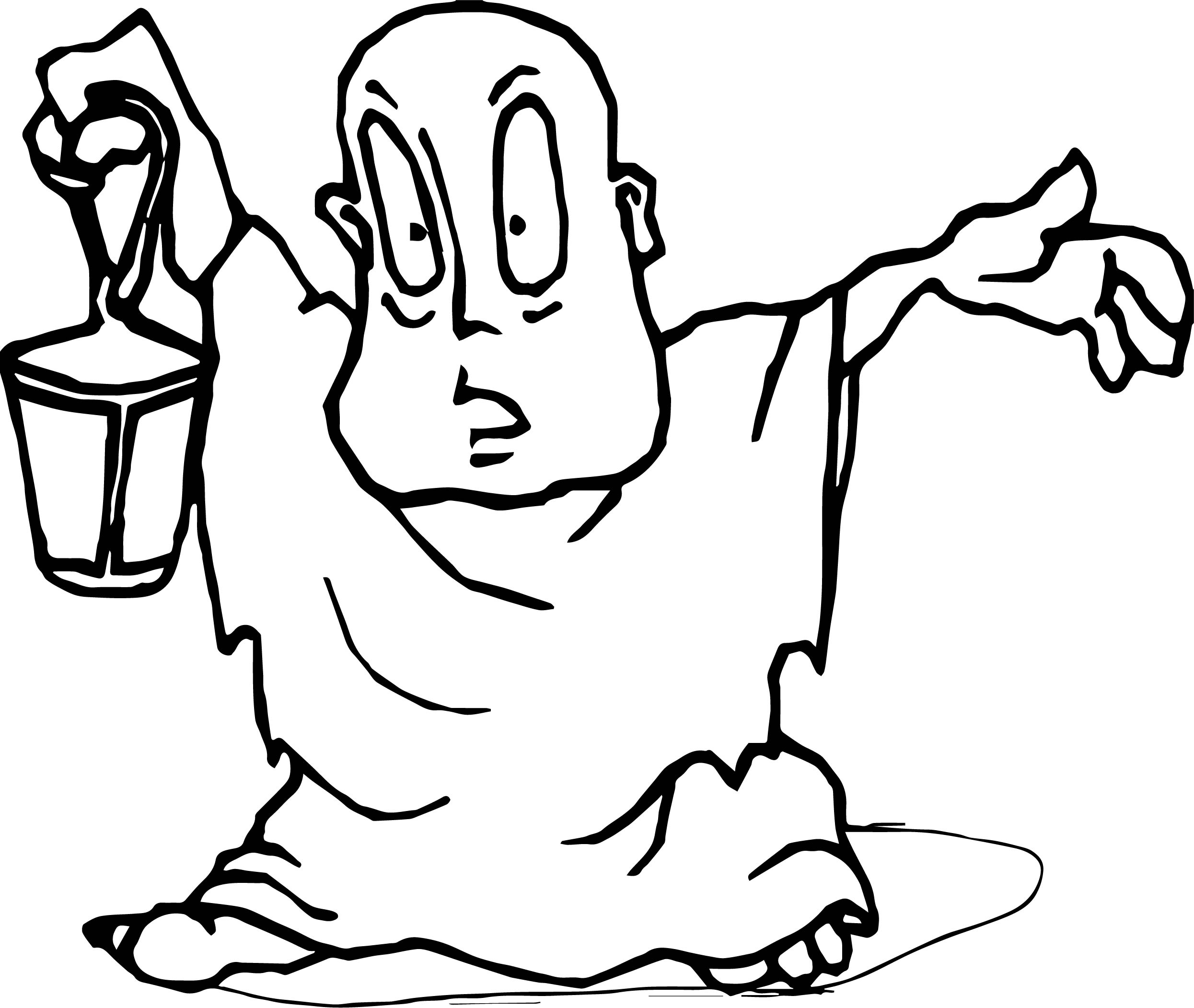 Man Bring A Lantern Scary Halloween Coloring Page