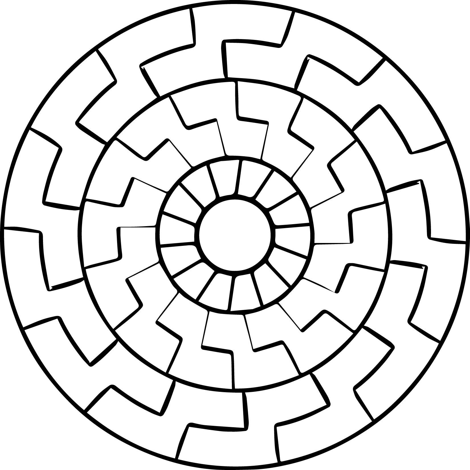 Mandala Labyrinth Coloring Orniment