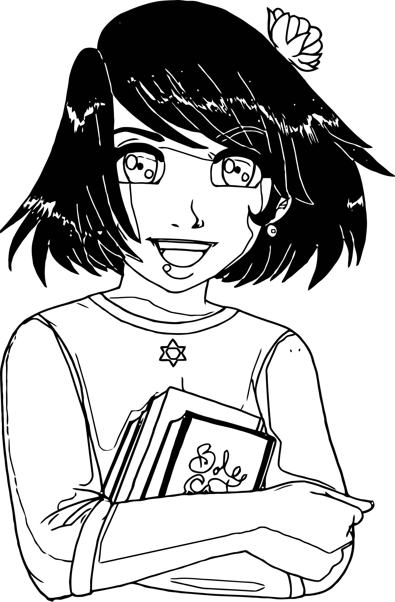 Manga Black Hair Book Girl Coloring Page