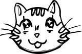 Manga Cat Face Coloring Page