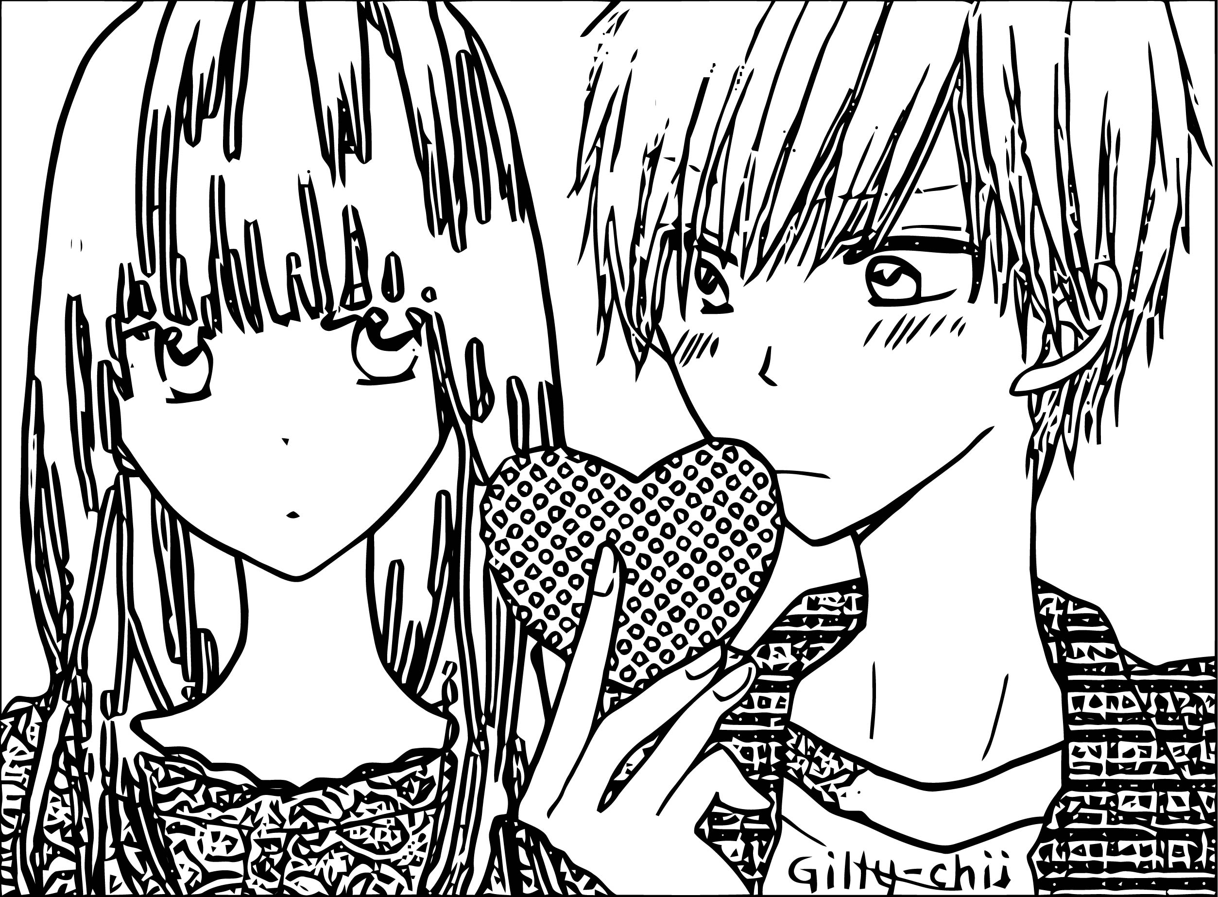 Manga Couple Girl Boy My Heart Coloring Page