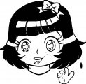 Manga Cute Black Hair Girl Coloring Page