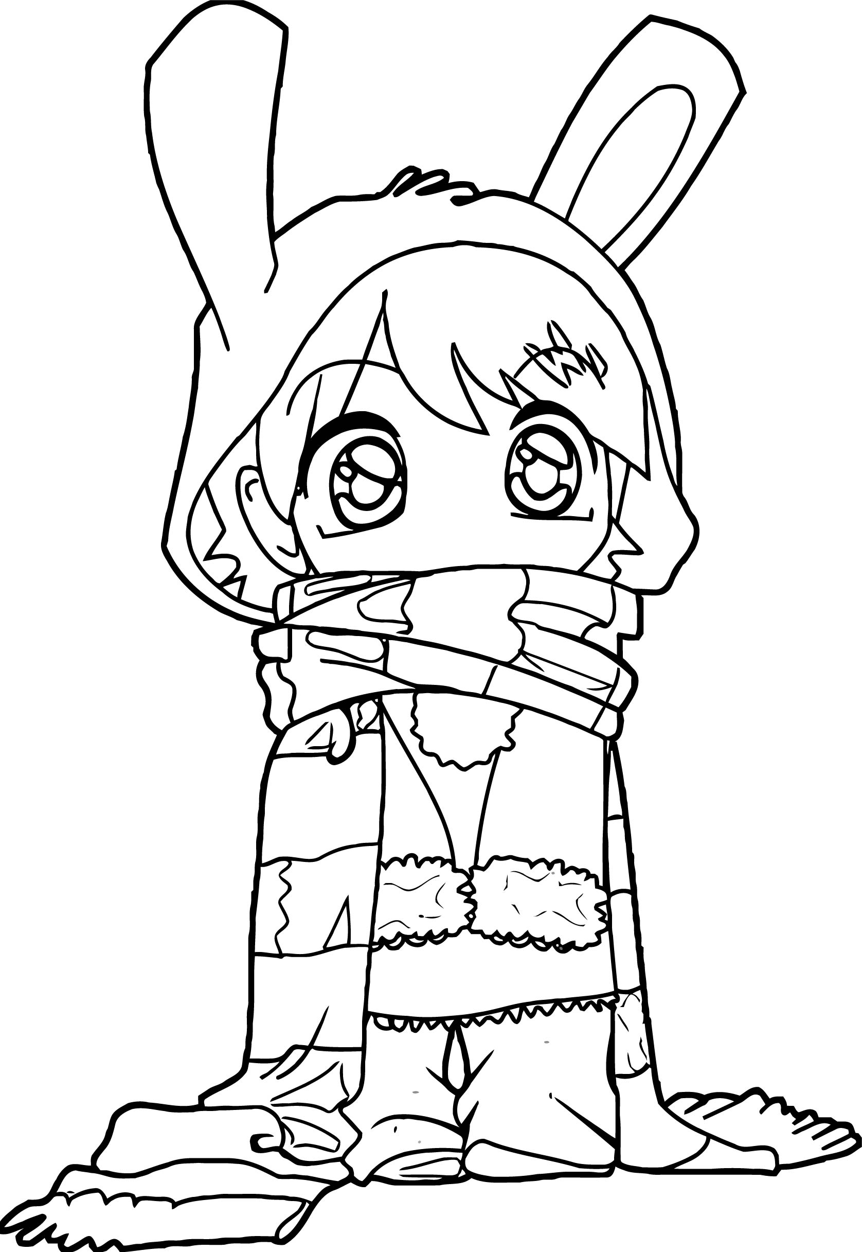 Manga Cute Bunny Girl Cartoon Coloring Page