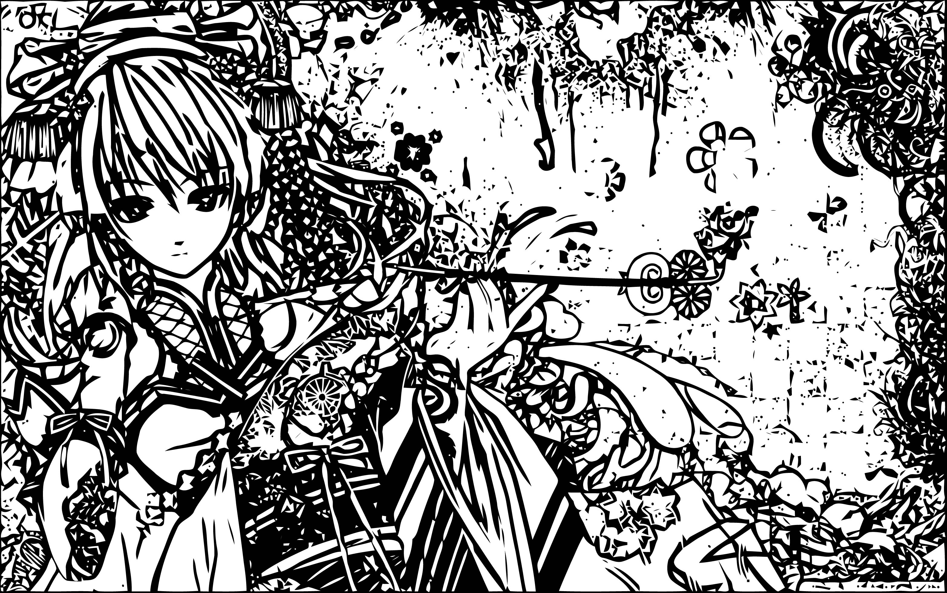 Manga Girl Mix Background Black Coloring Page