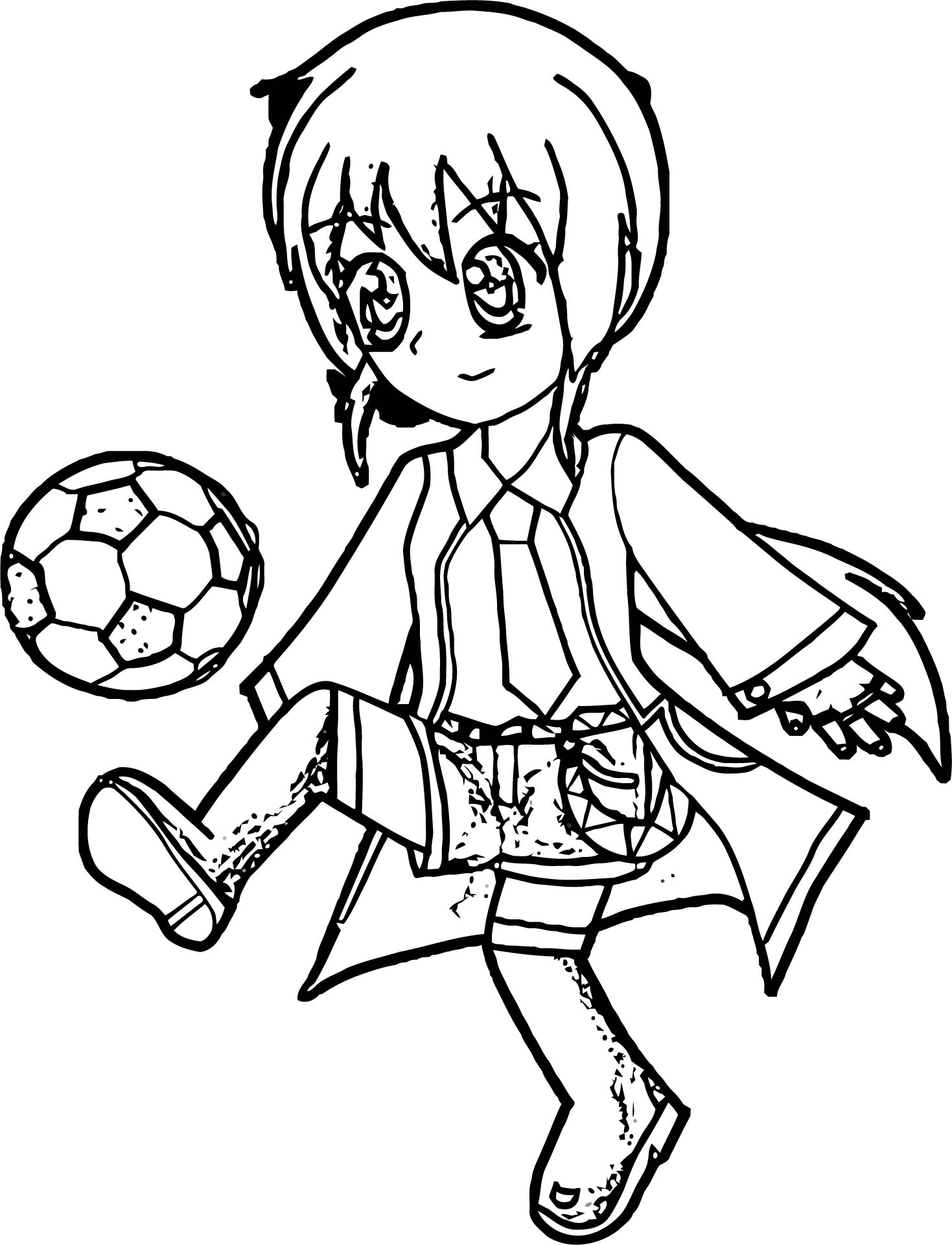 Manga Girl Playing Ball Coloring Page