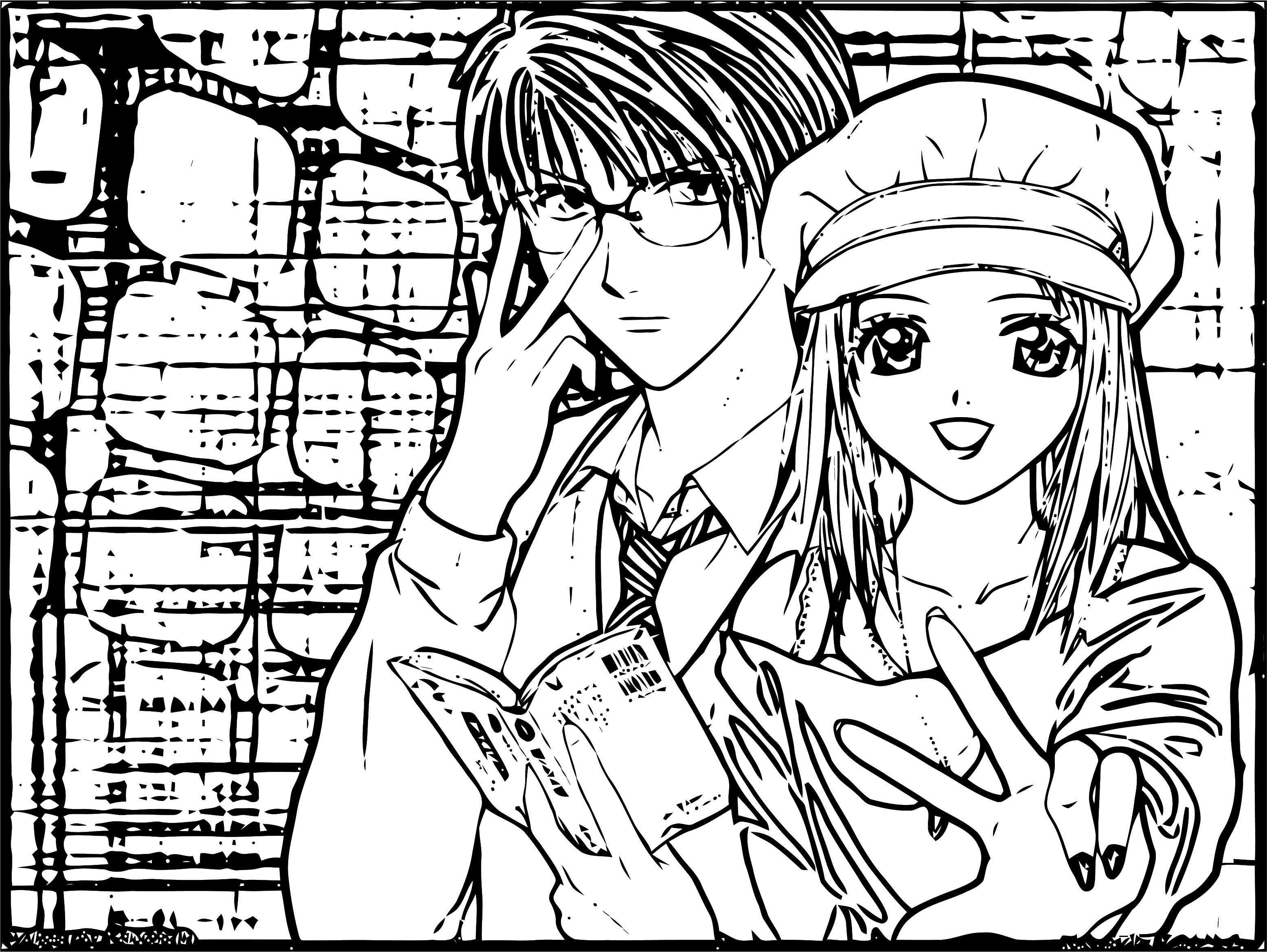 Manga Okey Girl Boy Coloring Page