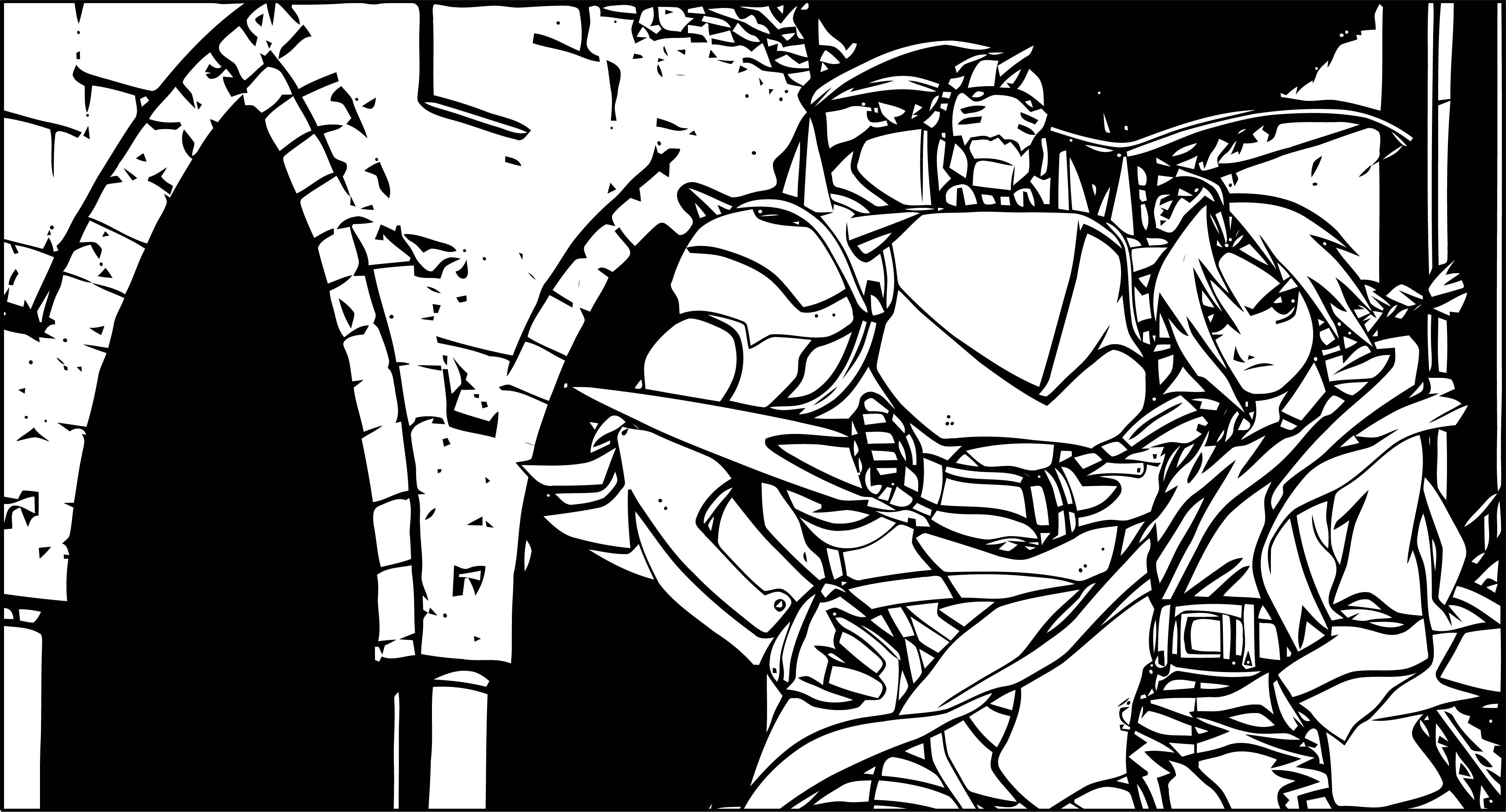 Manga Soldier Boy And Robot Coloring Page