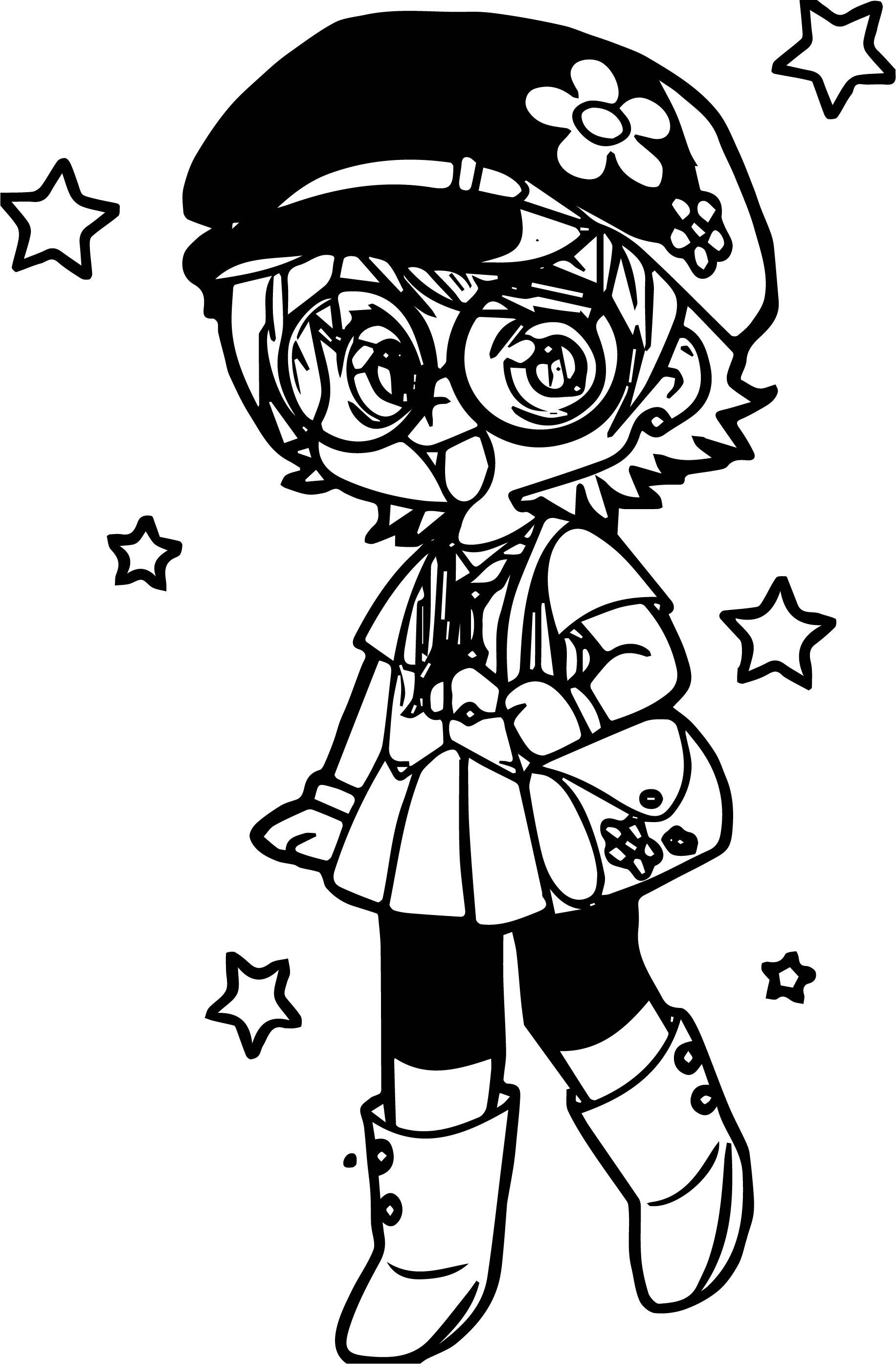 Manga Stars Girl Coloring Page