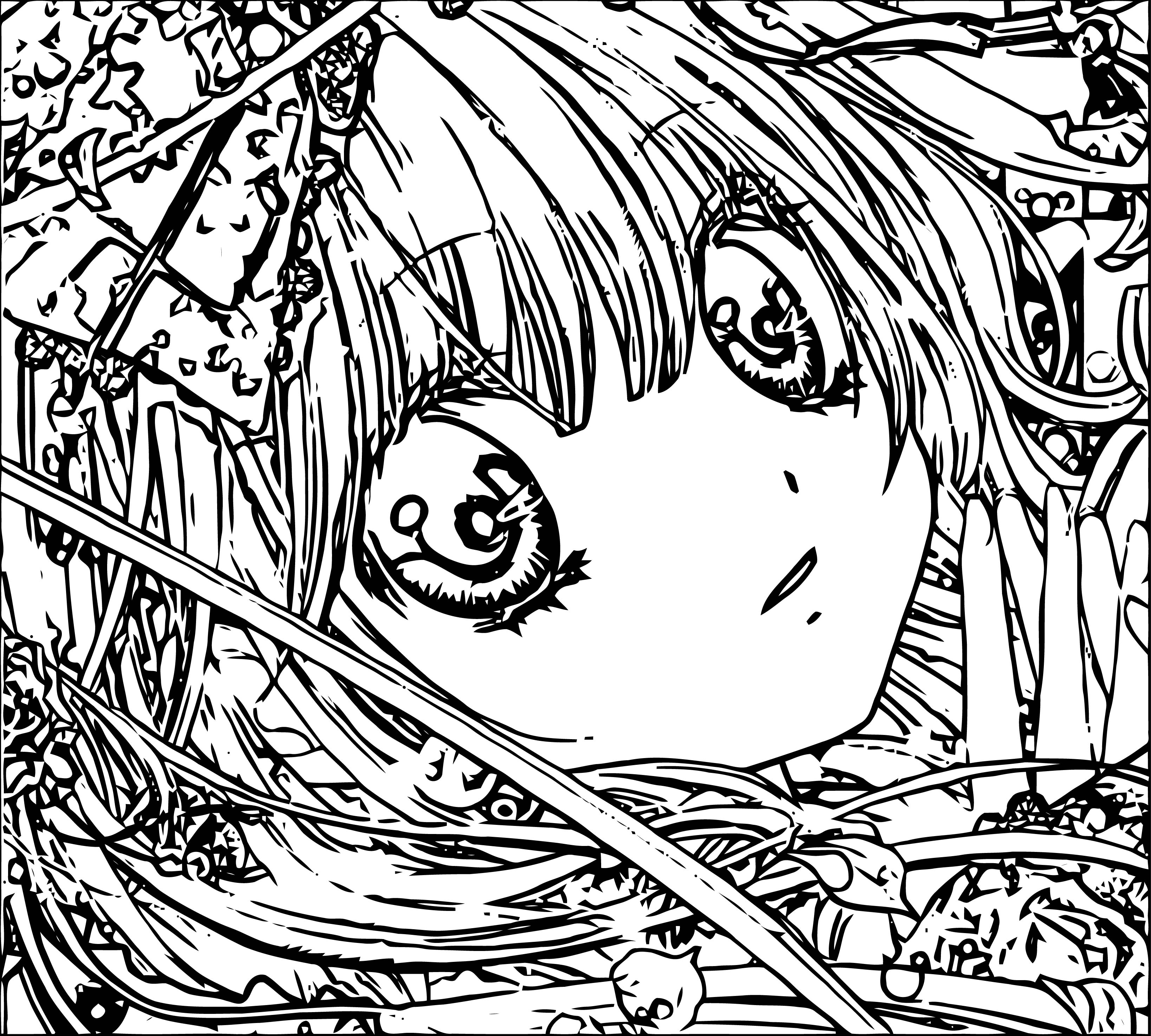 Manga Think Girl Coloring Page