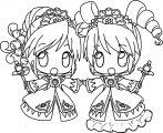 Manga Two Girl Cartoon Coloring Page