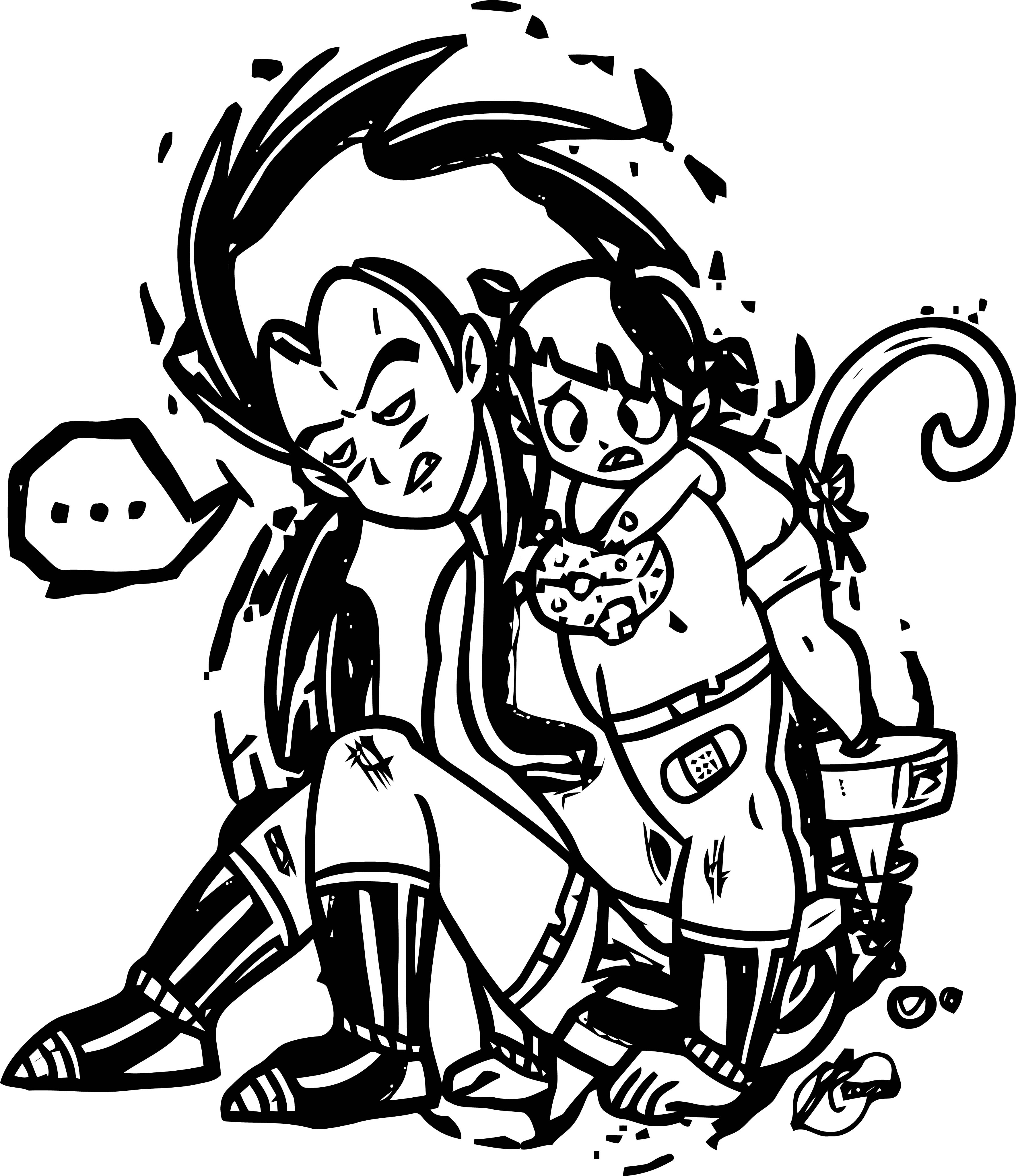 Manga Waiting Boy Girl Coloring Page