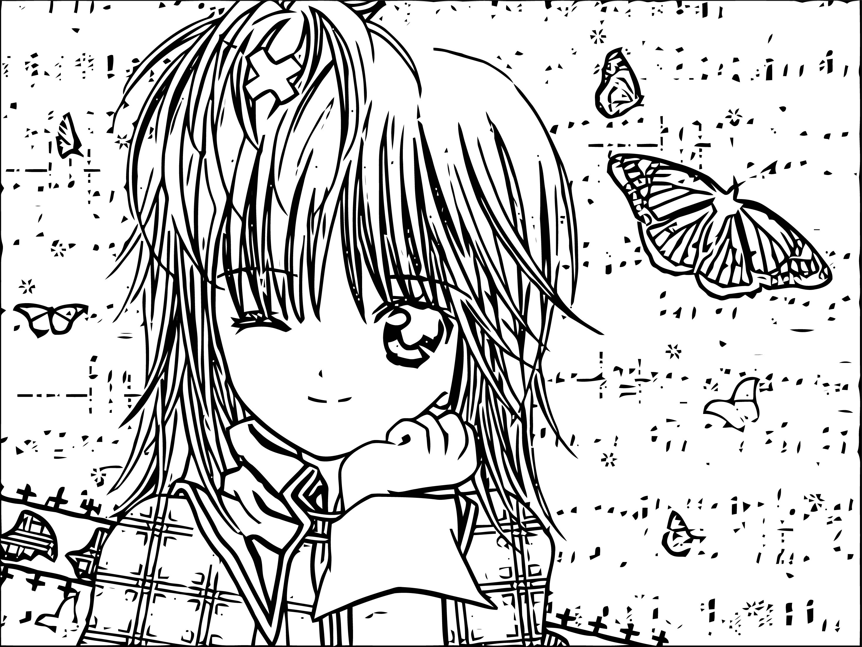 Manga Wink Girl And Butterfly Coloring Page
