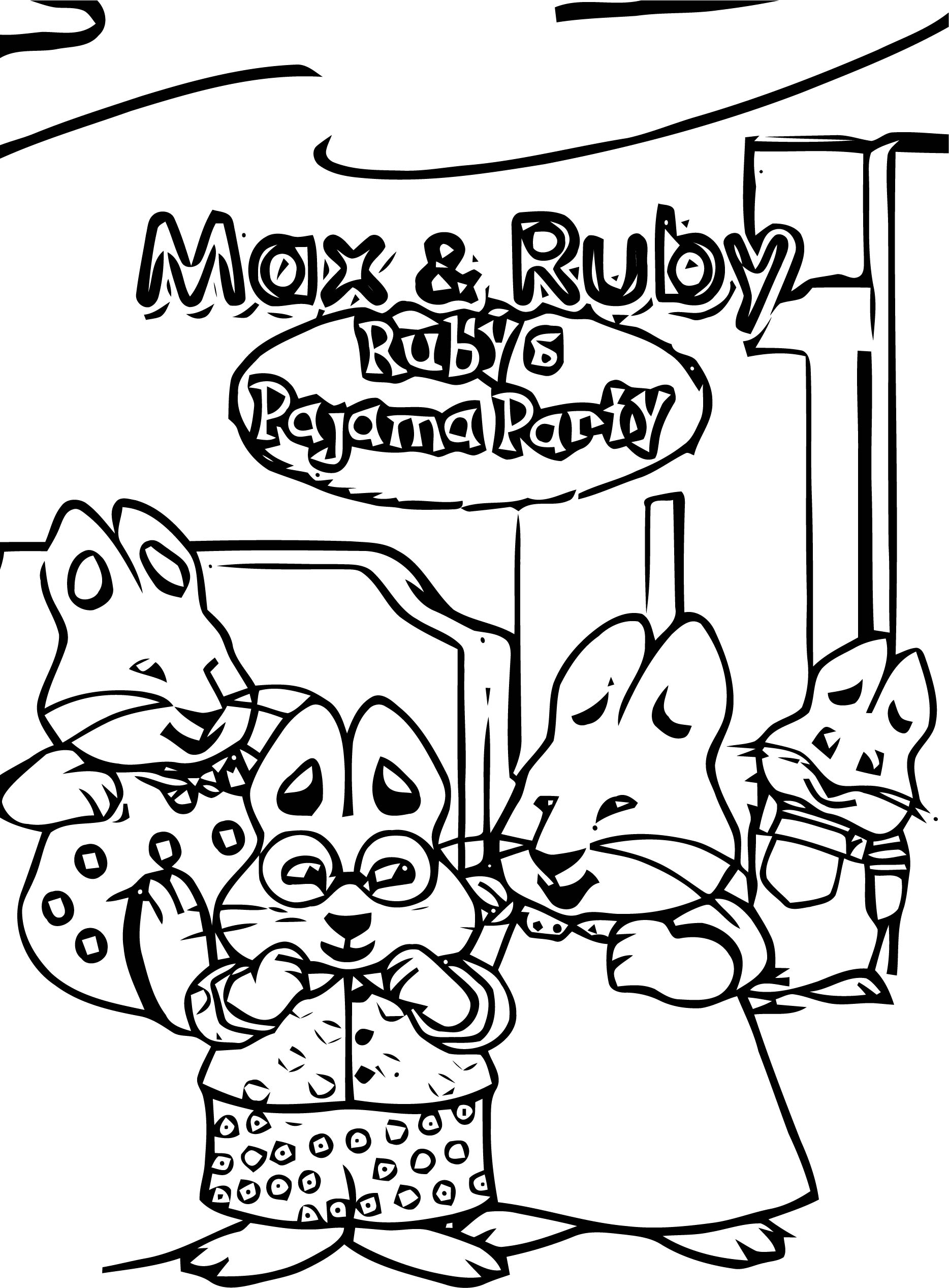 Max And Ruby Rubys Pajama Party Front Cover Max And Ruby Coloring Page