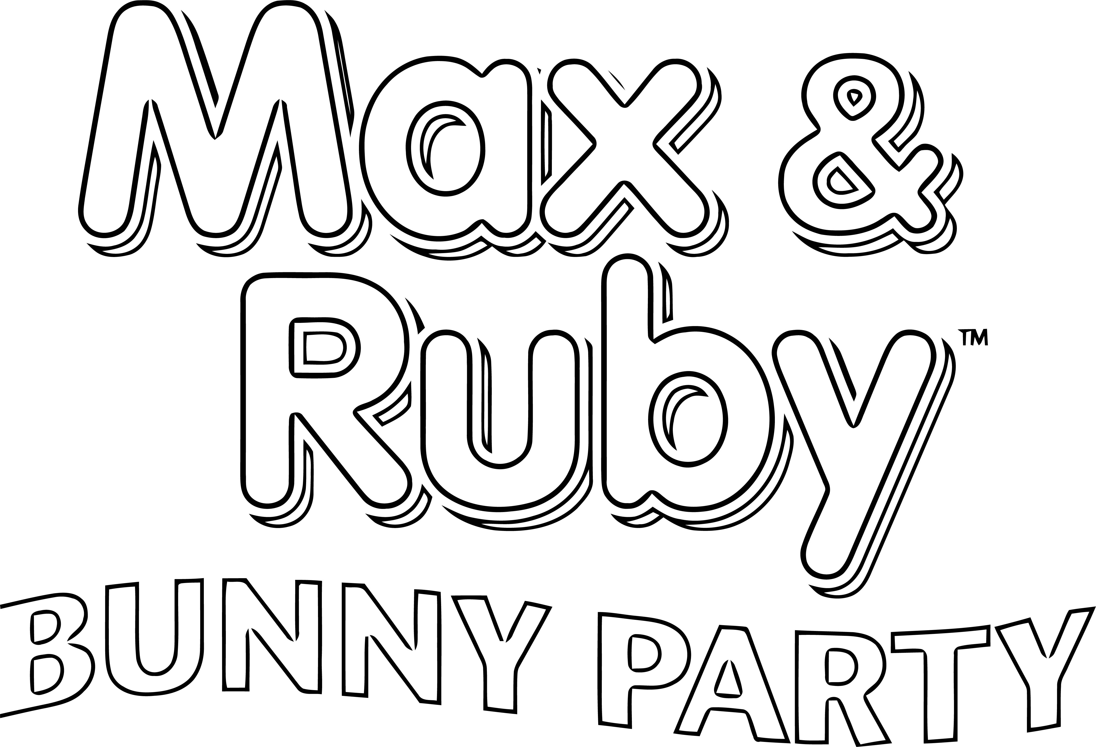 Max Ruby Bunny Party Logo Max And Ruby Text Coloring Page