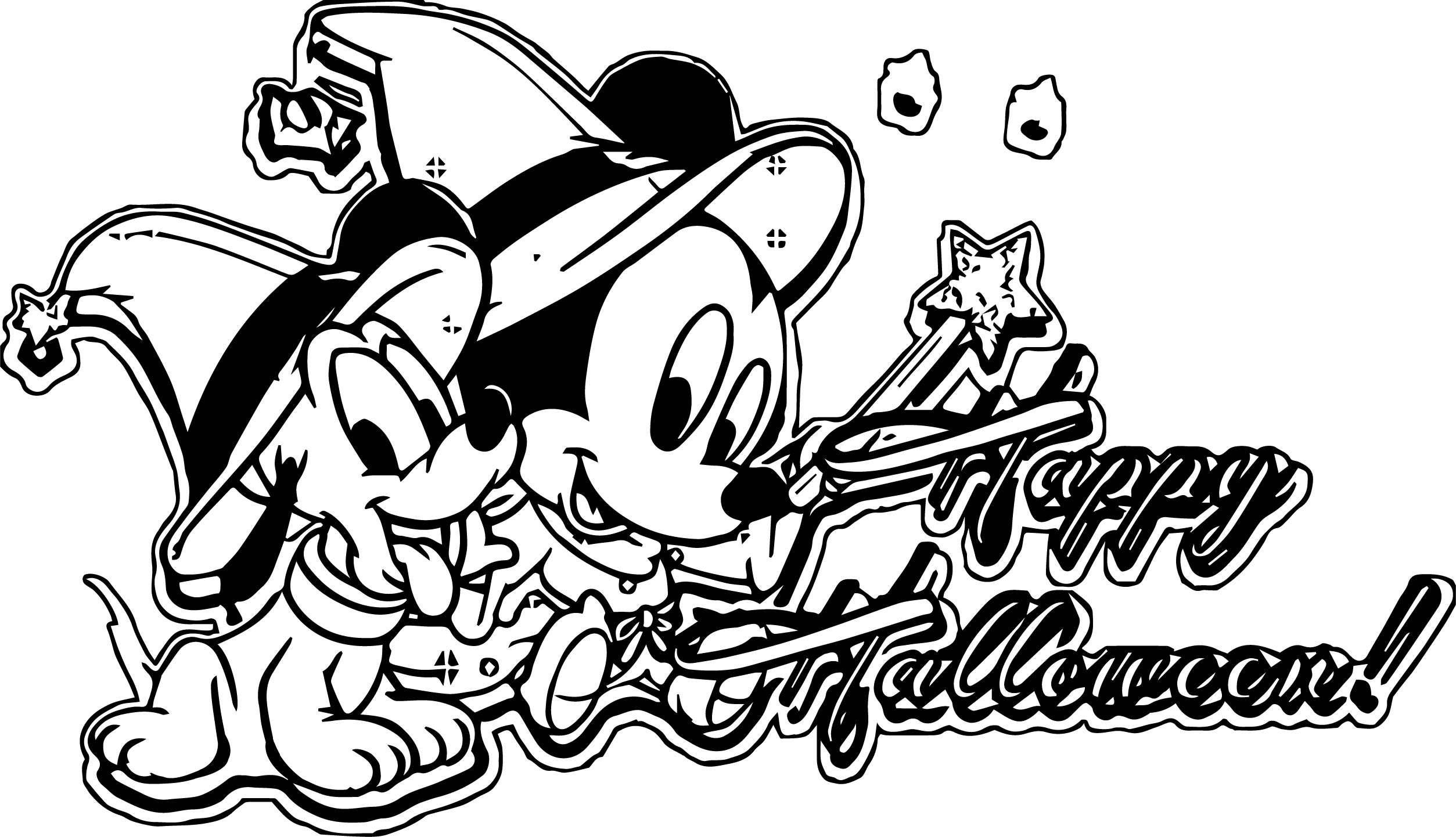 Mickey Mouse Halloween Coloring Page 2