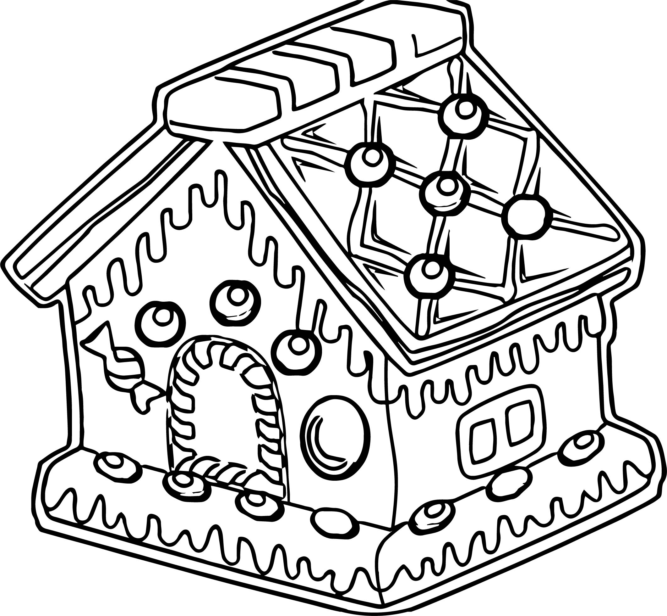 Now Gingerbread House Gingerbread House Coloring Page