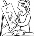 Painter Art Girl Coloring Page