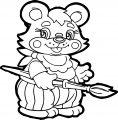 Painter Cartoon Bear Coloring Page