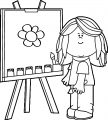 Painter Flower Girl Coloring Page