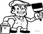 Painter Happy Man Coloring Page