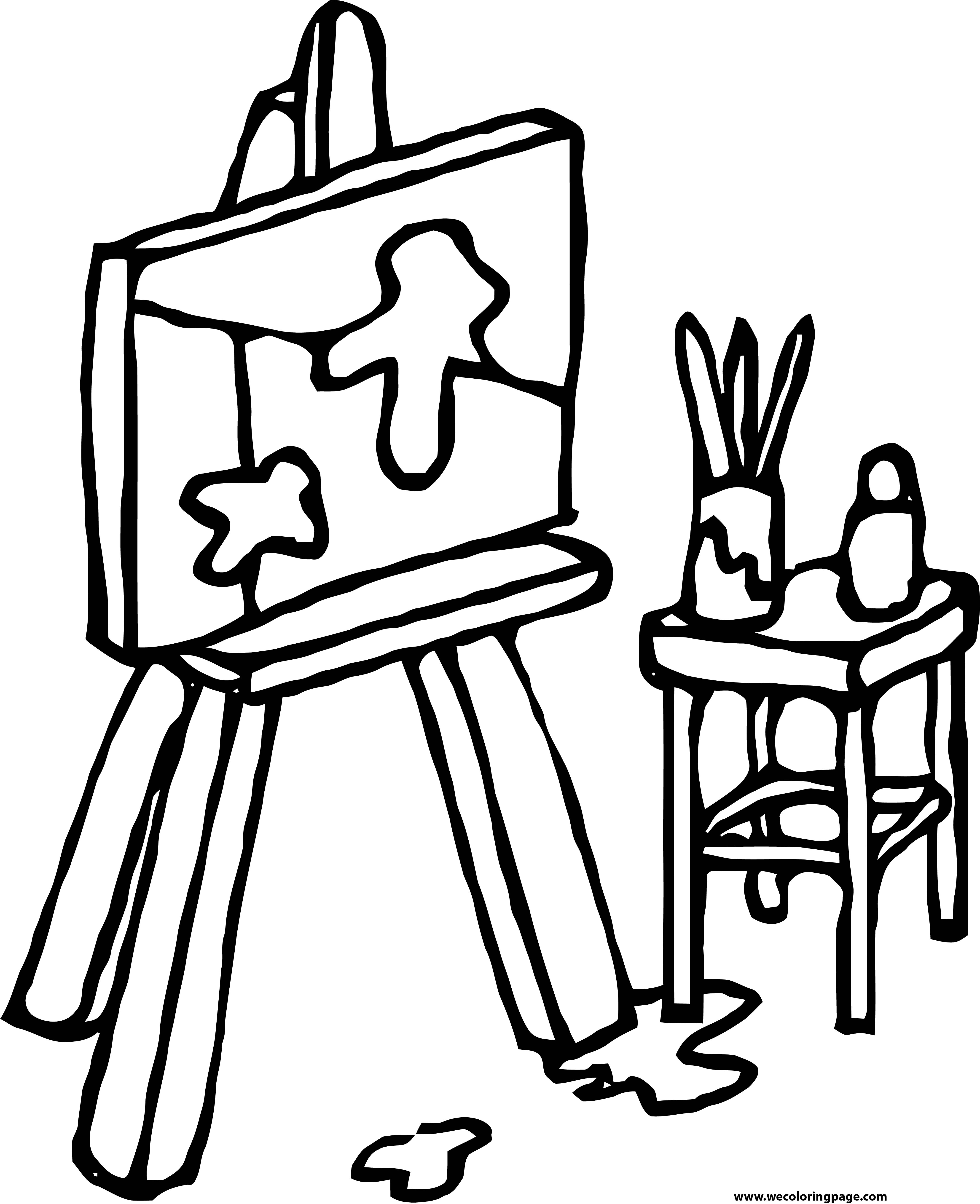 Painter Table Pen Box Coloring Page