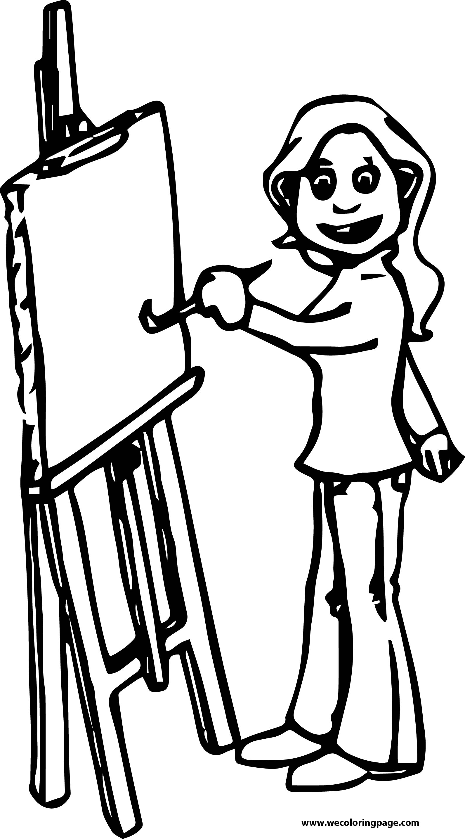 Painter Teacher Girl Coloring Page