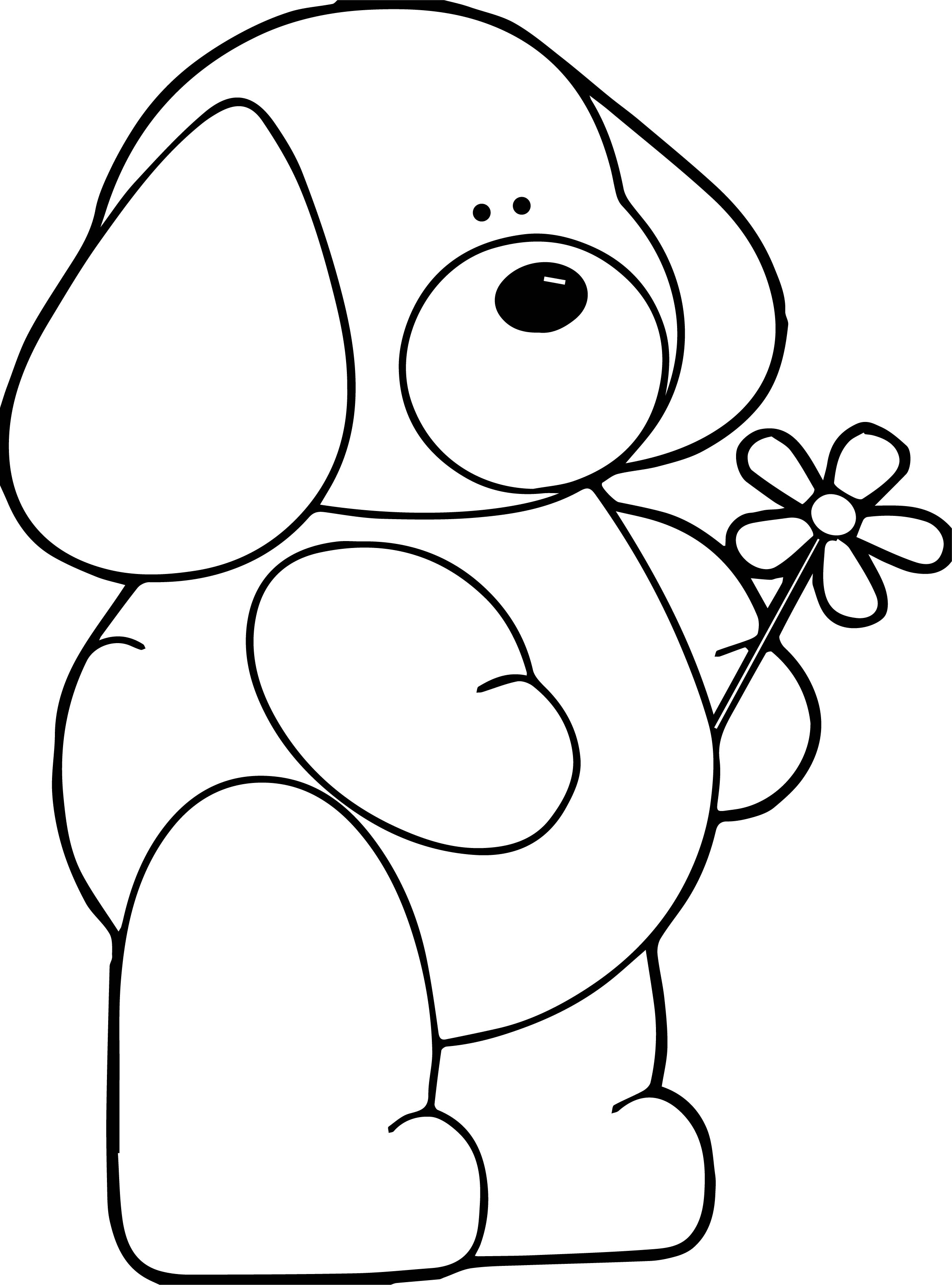 Puppy Dog Flower Coloring Page