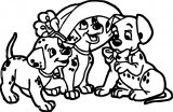 Puppy Dog Three Cute Dalmatian Coloring Page