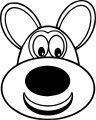 Puppy Dog Very Cute Big Face Coloring Page