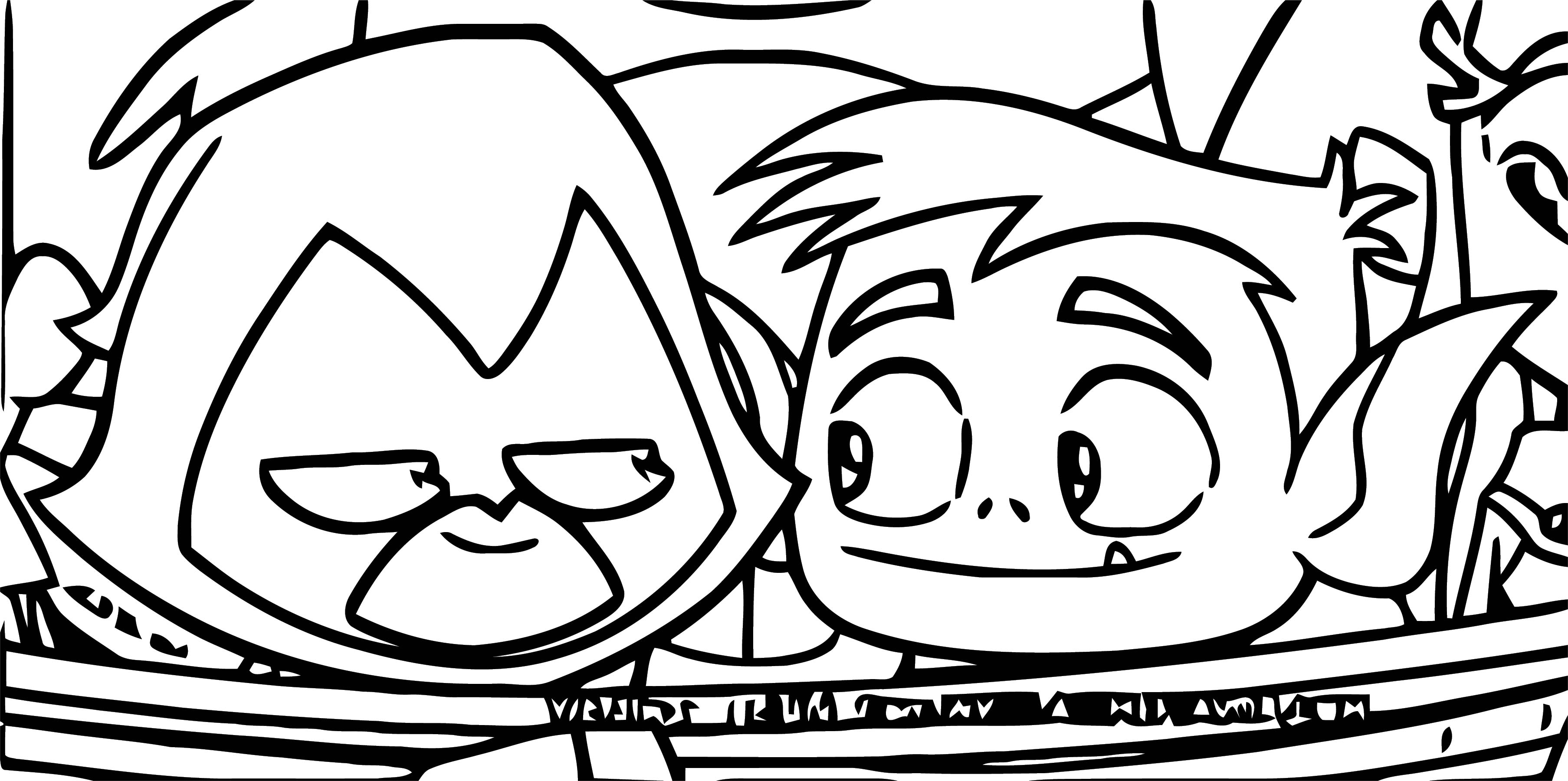 Raven And Beast Boy Smiling At Each Other Coloring Page