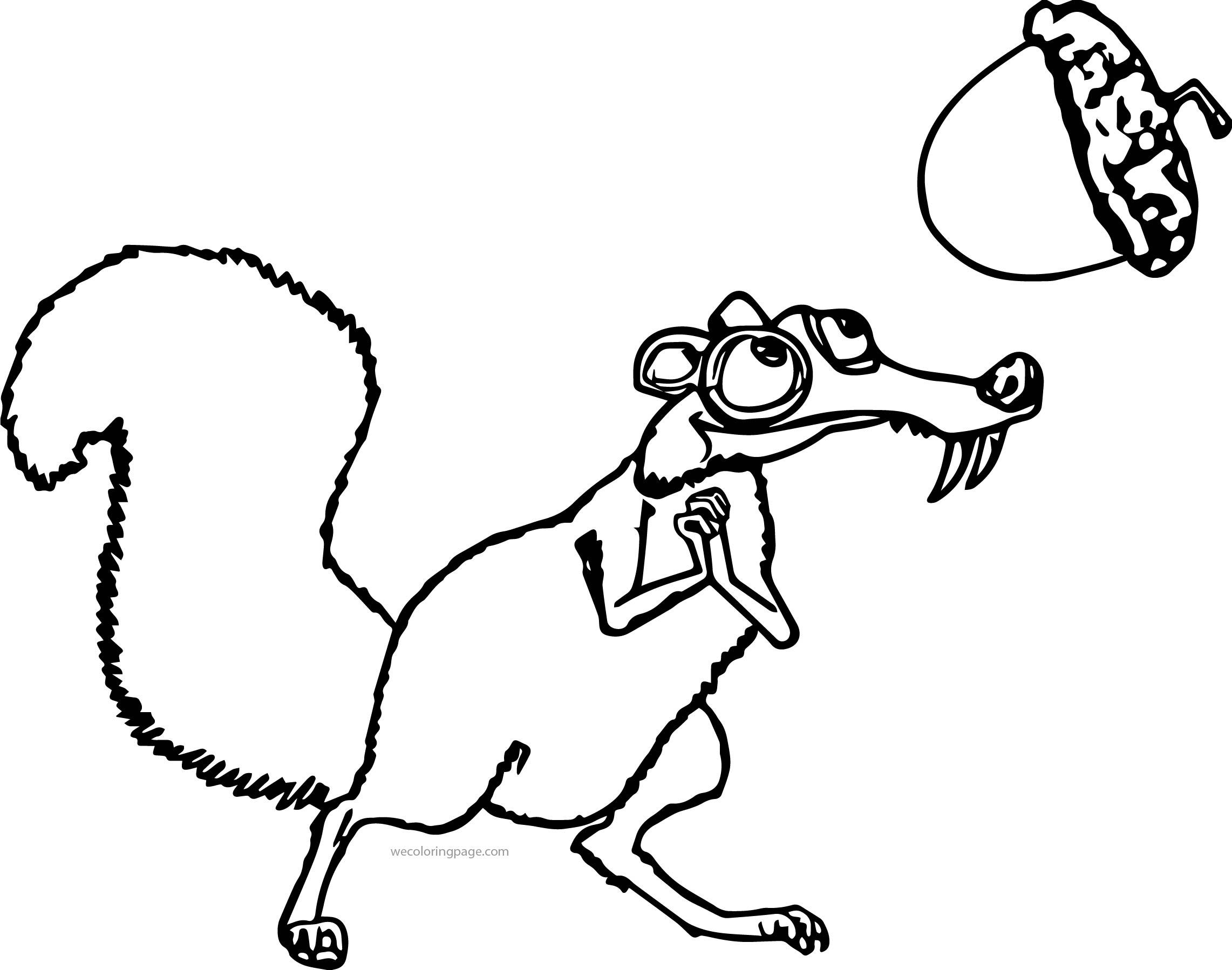 Scrat From The Movie Ice Age 4 Coloring Page