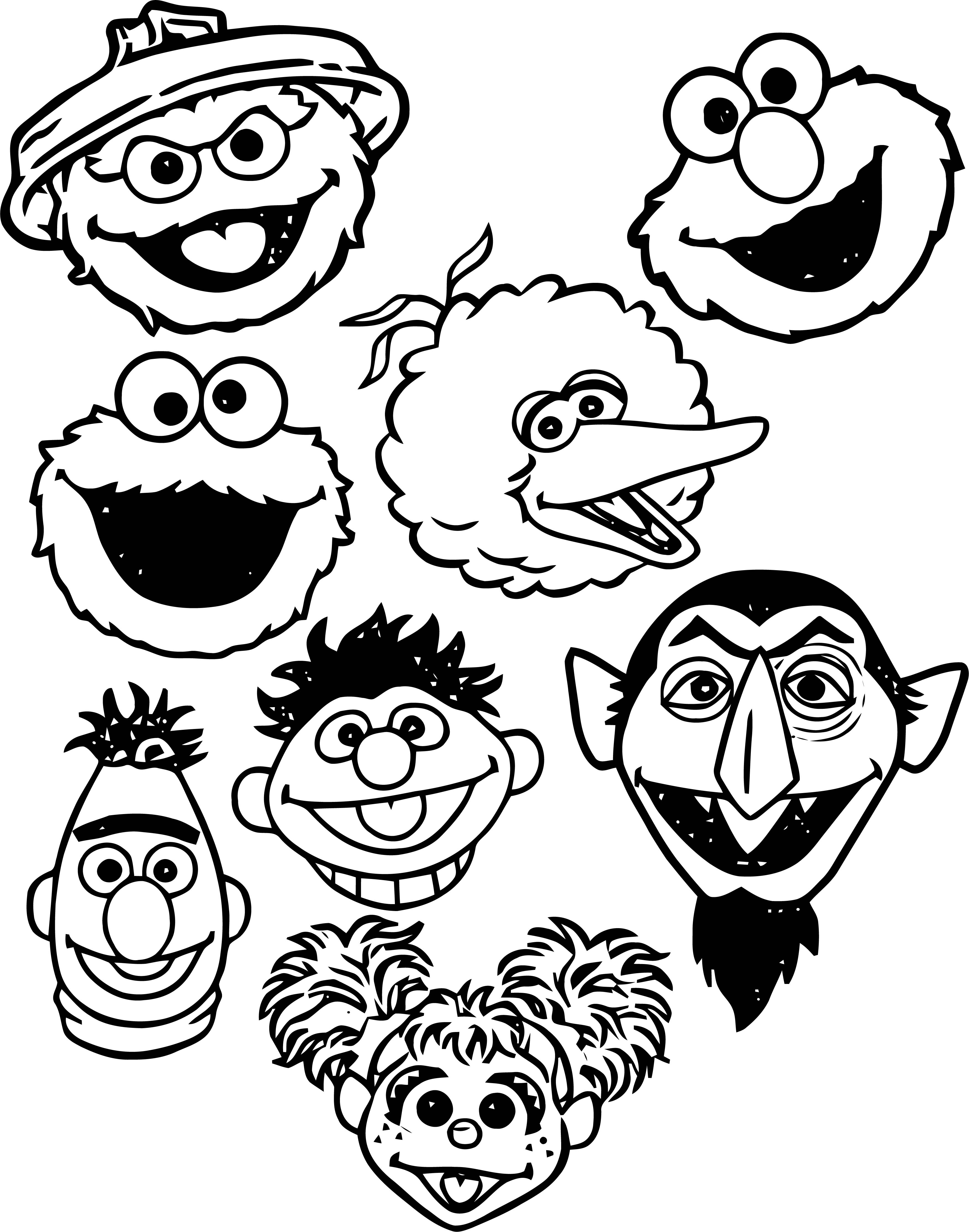 Sesame Street Character Face Coloring Page