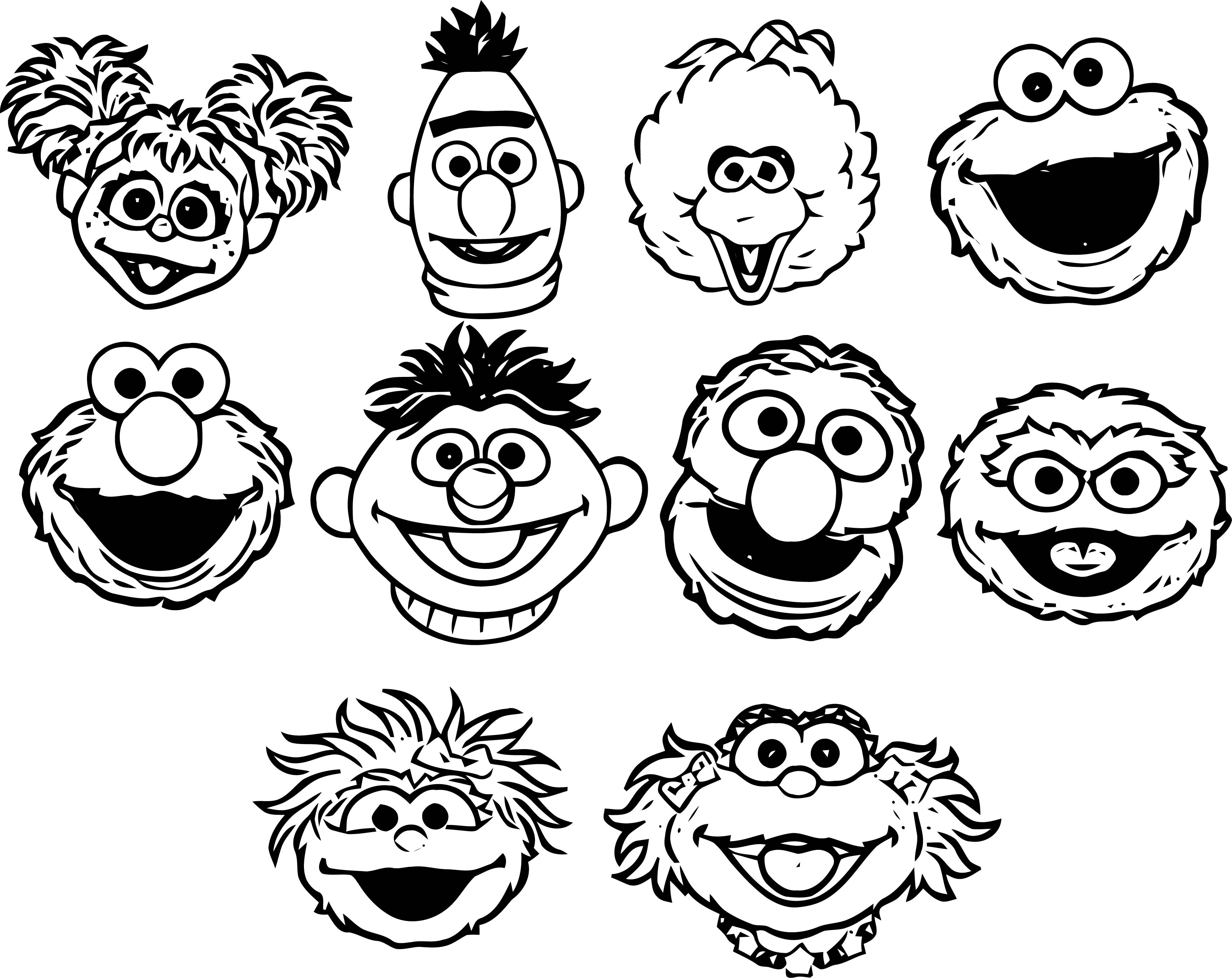 Sesame Street Face Character Coloring Page