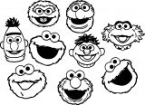Sesame Street Faces Coloring Page