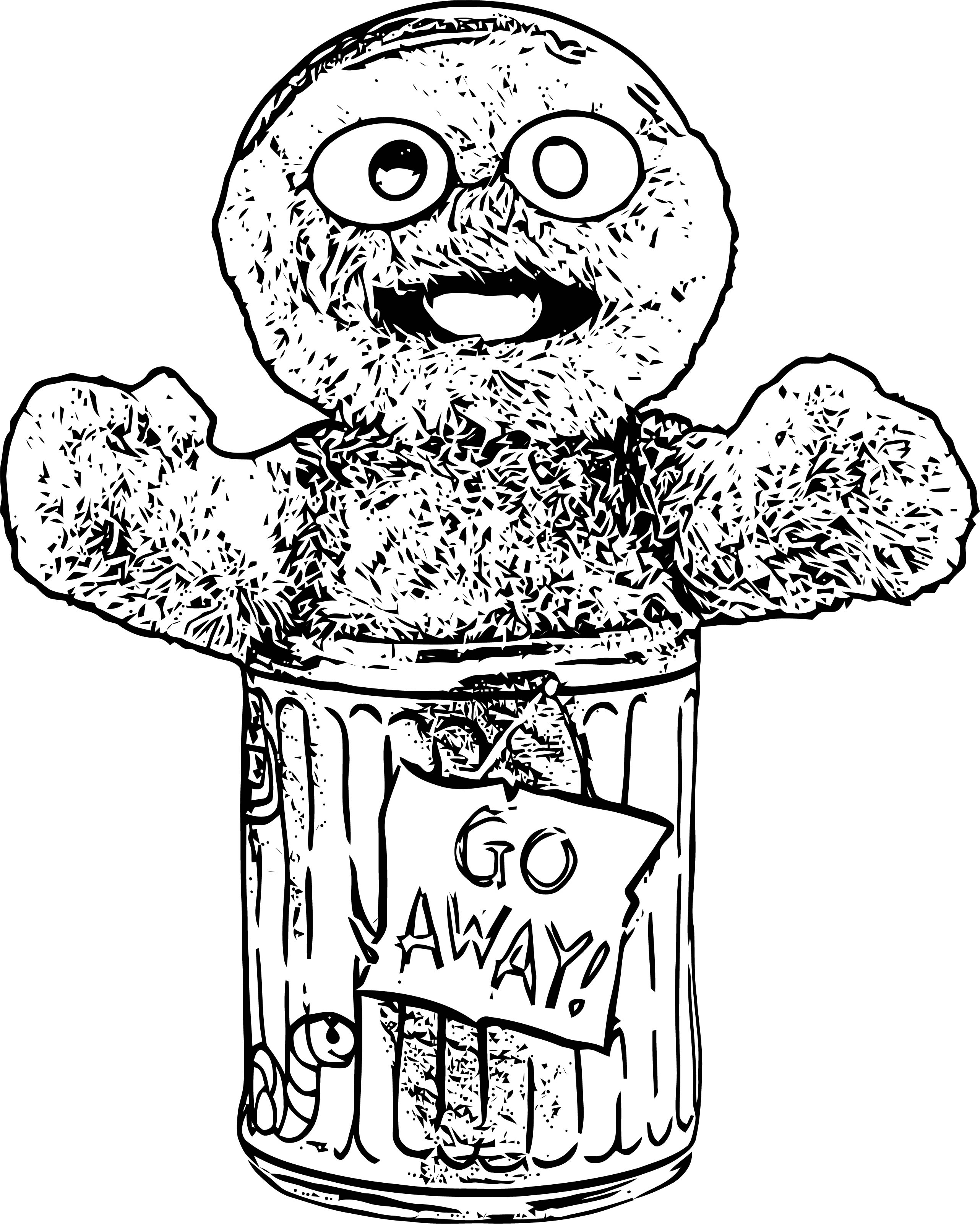 Sesame Street Go Away Trash Sketch Coloring Page