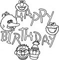 Sesame Street Happy Birthday Coloring Page