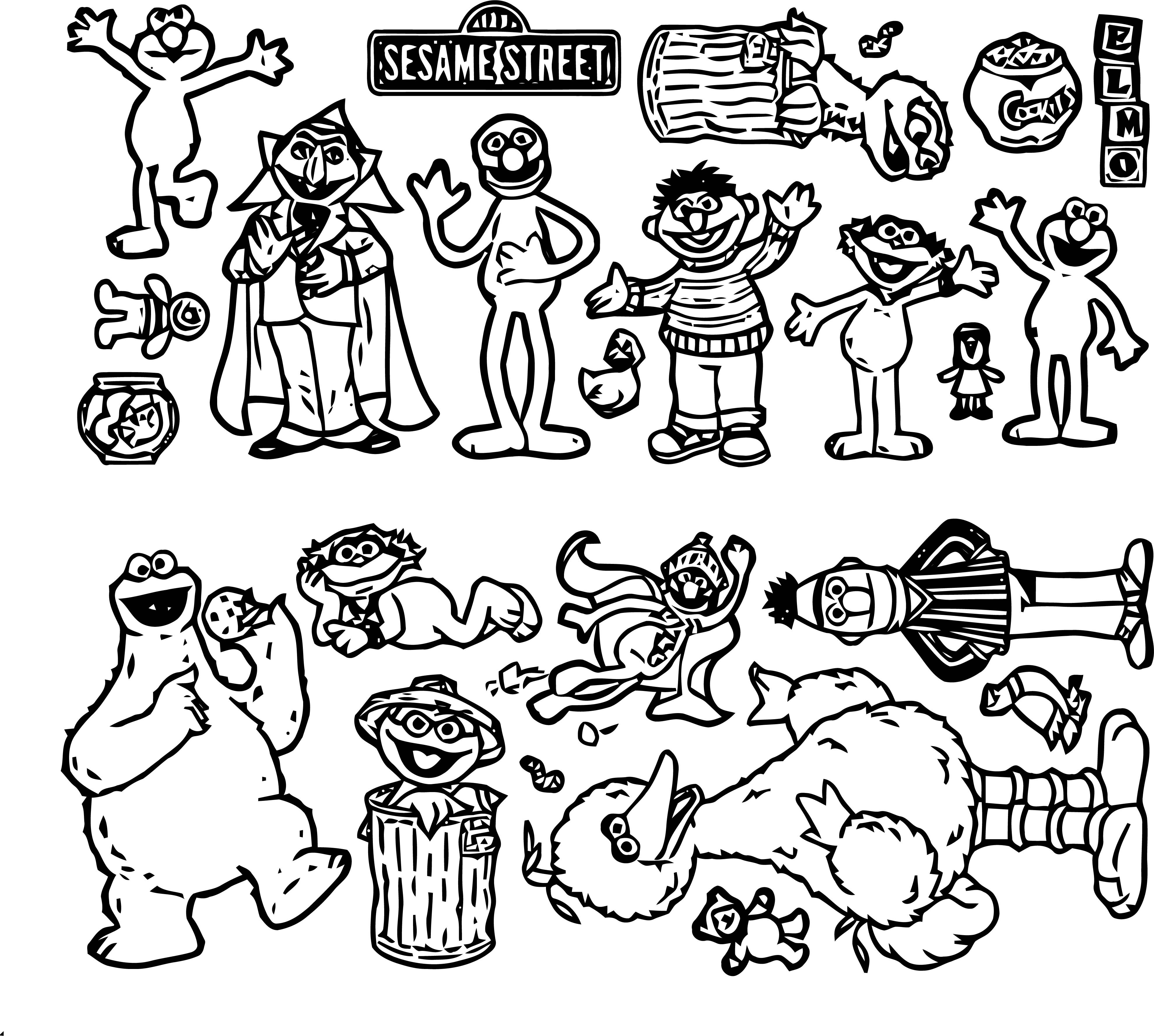 Sesame Street Minimal Characters Coloring Page