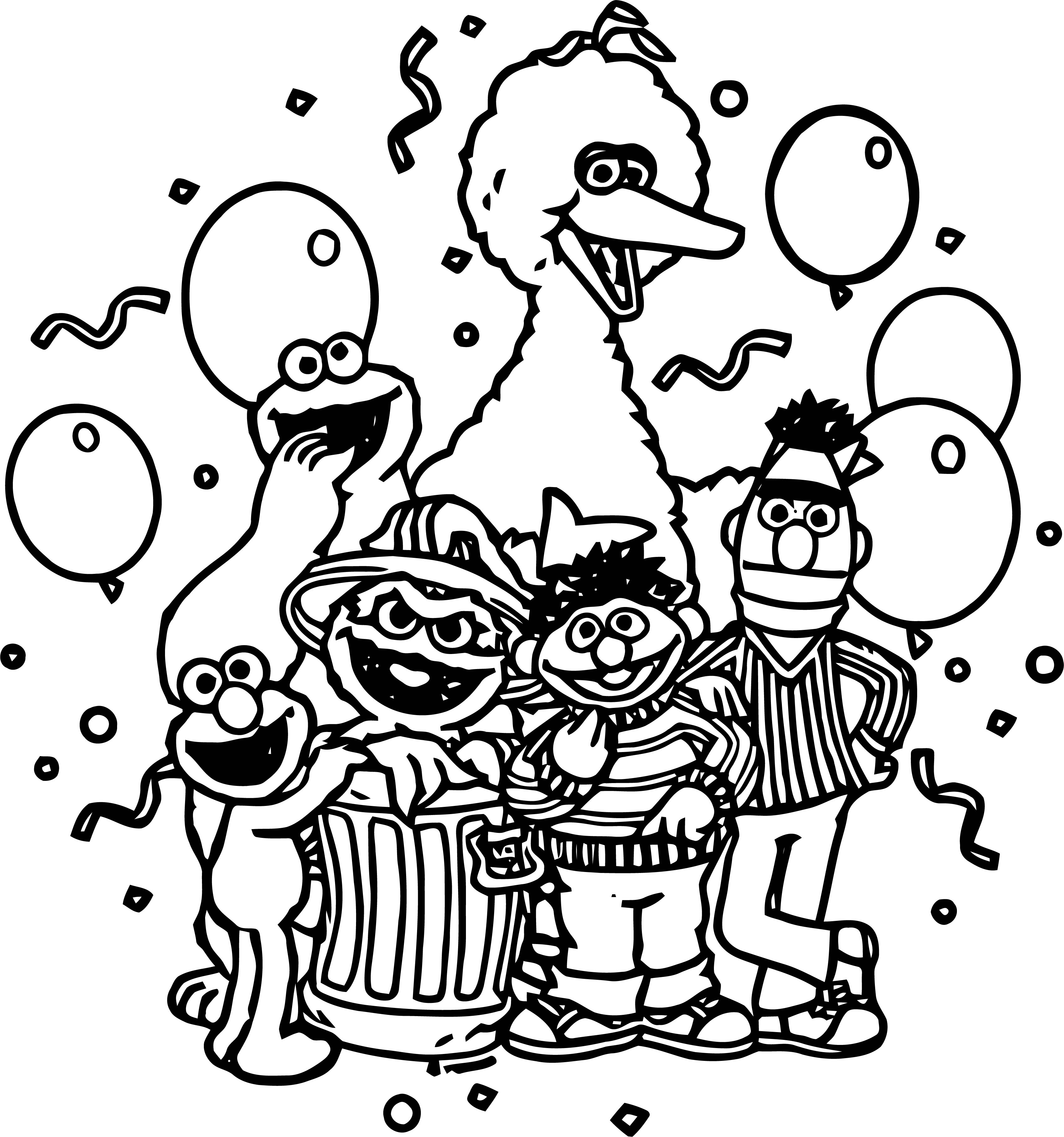 Sesame Street Party Coloring Page