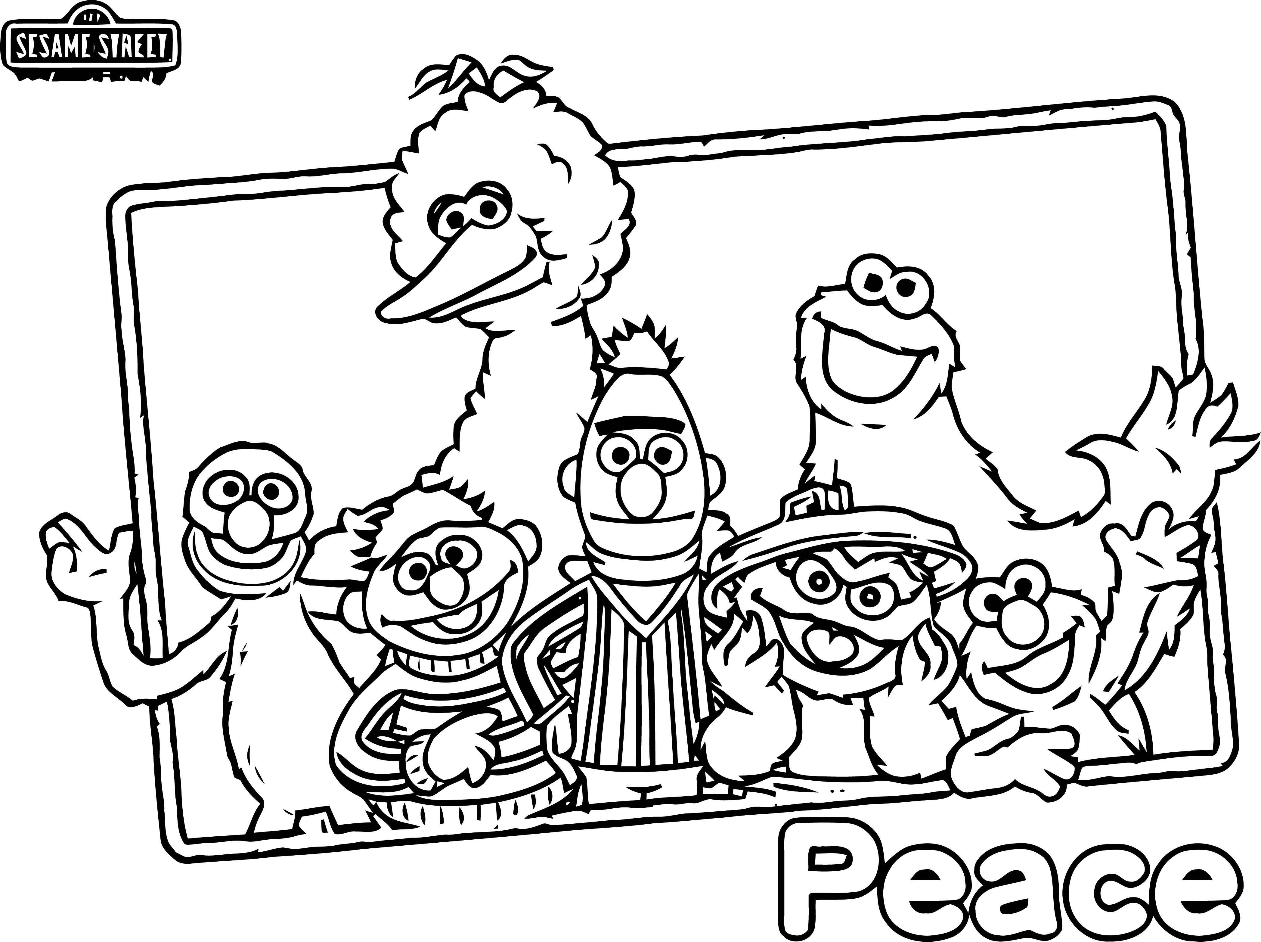 Sesame Street Peace Coloring Page