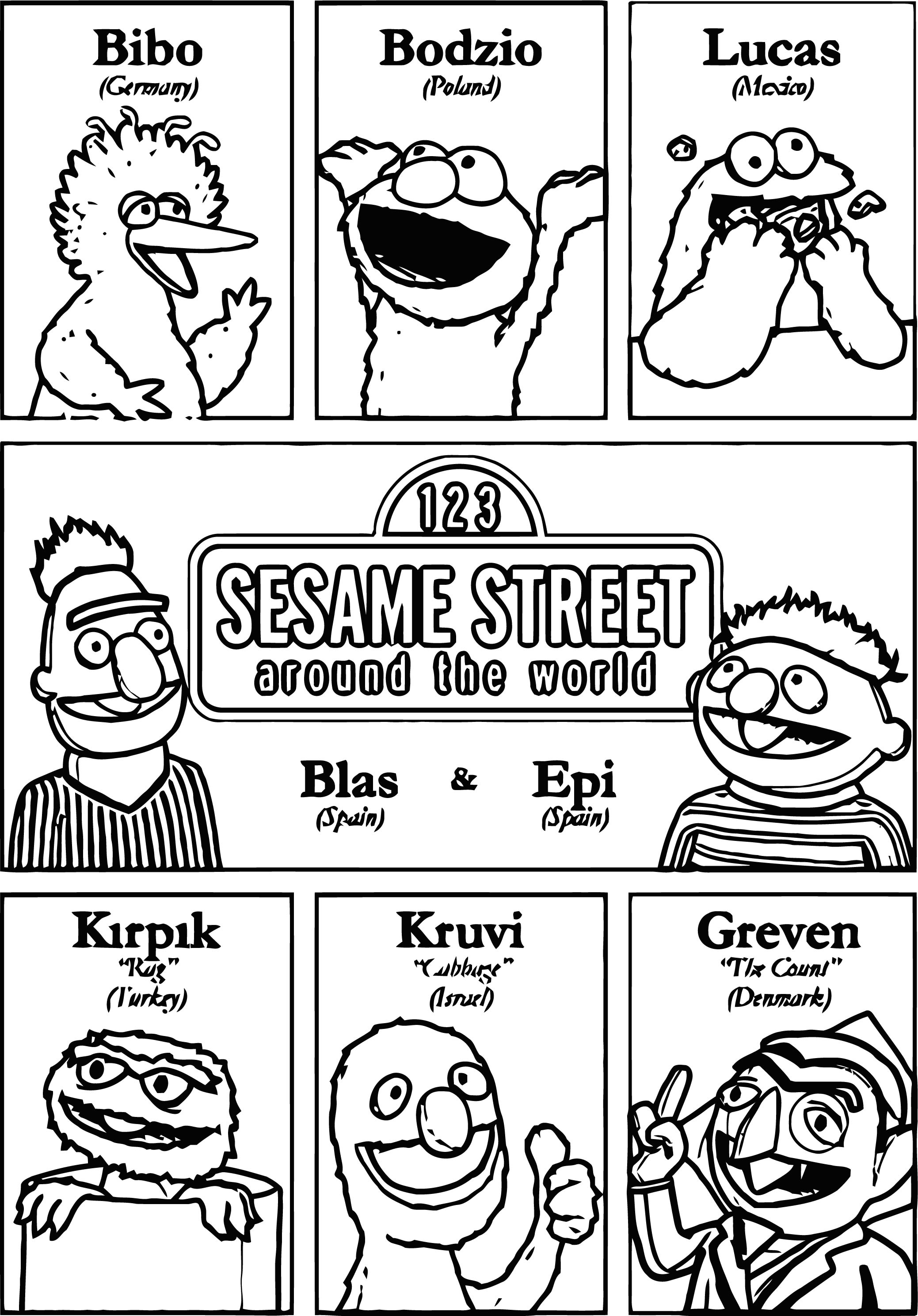 Sesame Street Super Characters And Names Coloring Page