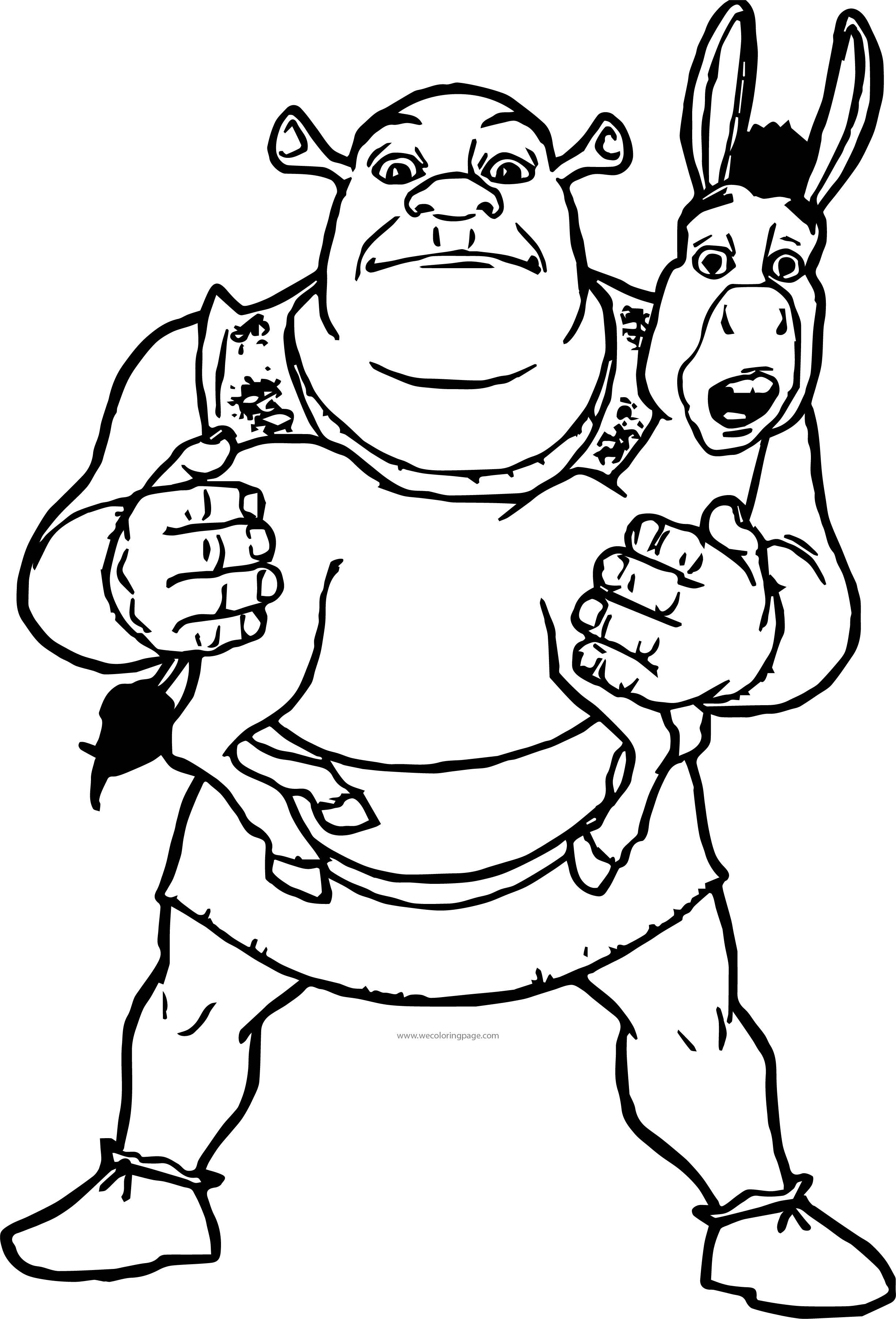 Shrek Holding Donkey Coloring Page