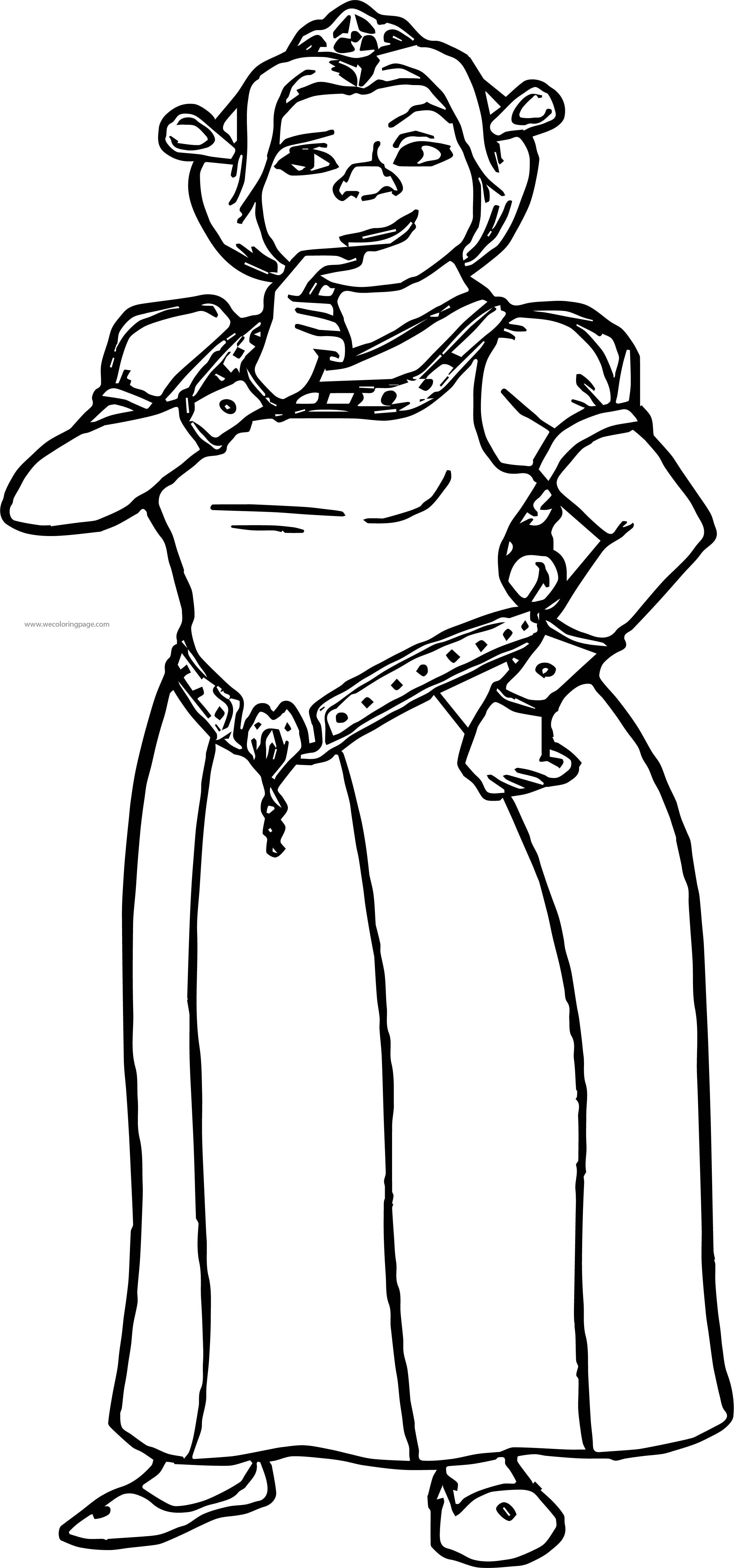 Shrek Thinking Girl Coloring Page