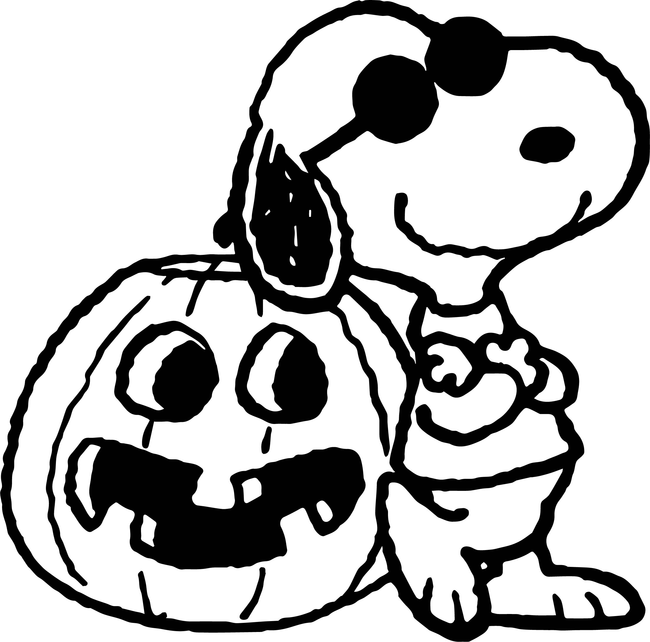 Snoopy Cartoon Halloween Pumpkin Coloring Page