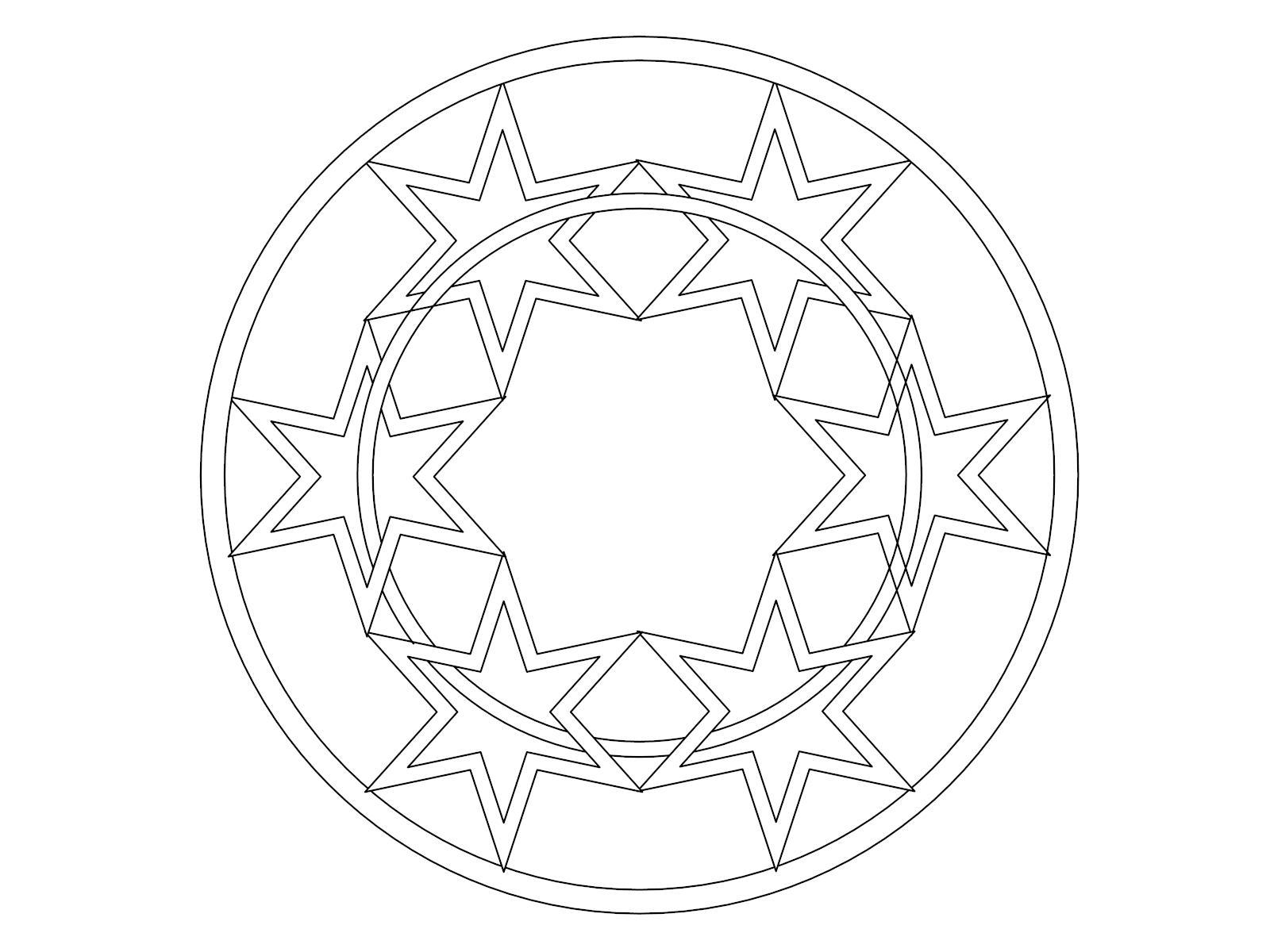 Star Mandala Coloring Page Shape