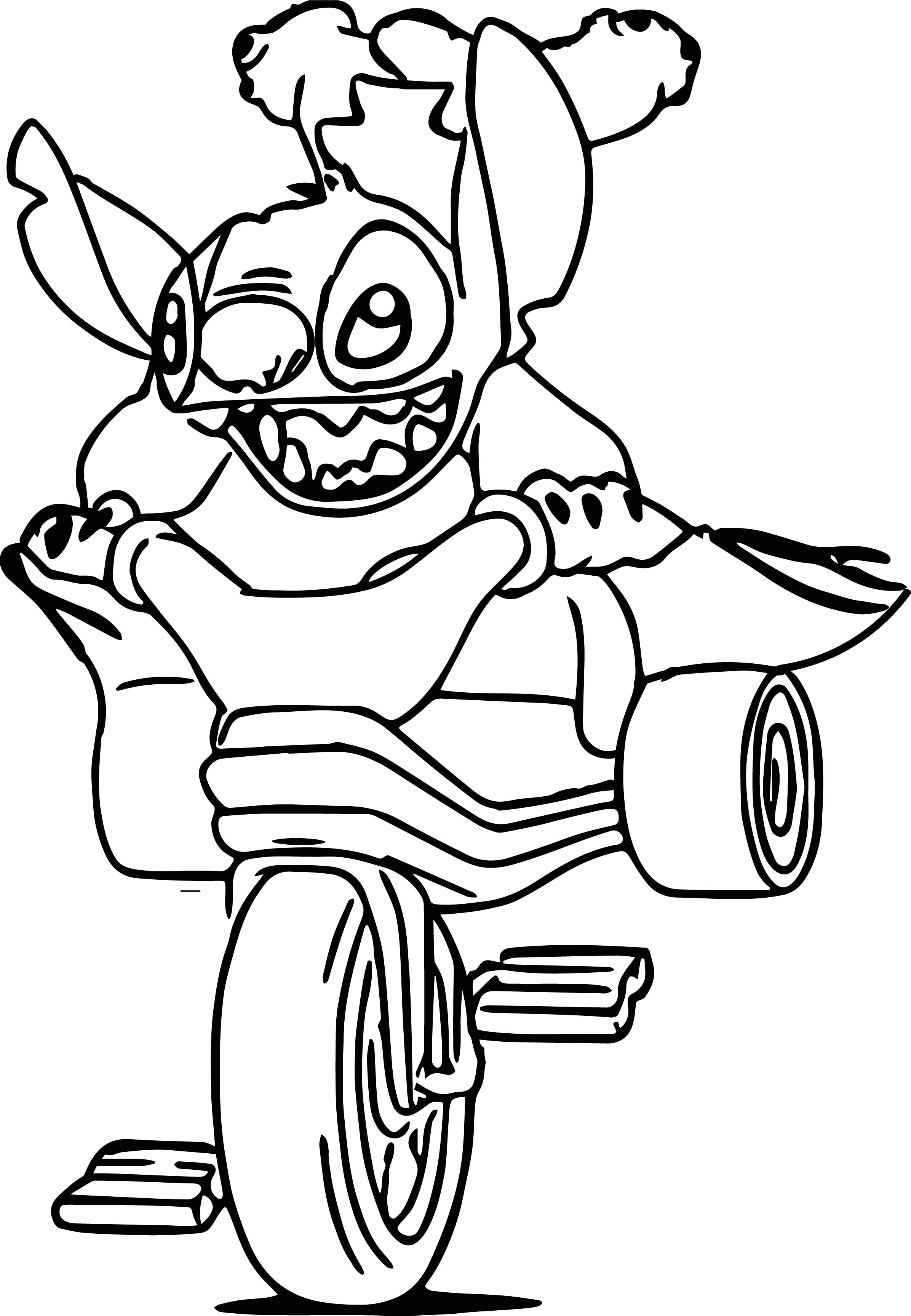 Stitch Biycle Dangerous Action Coloring Page