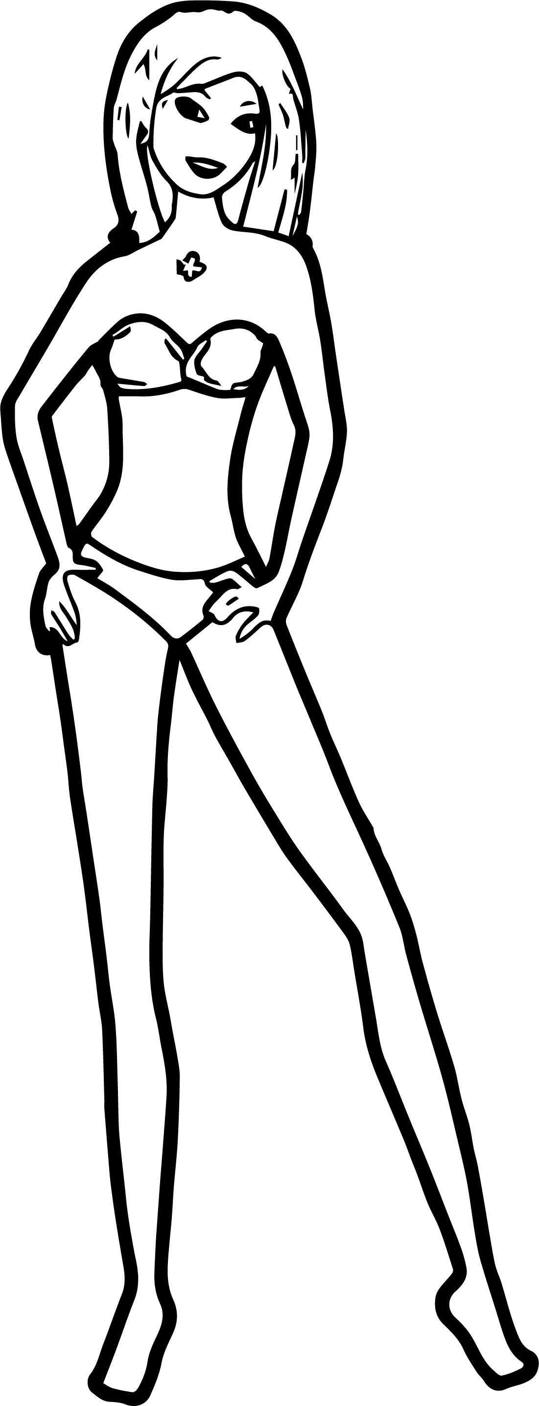 Tall Barbie Beach Pose Coloring Page