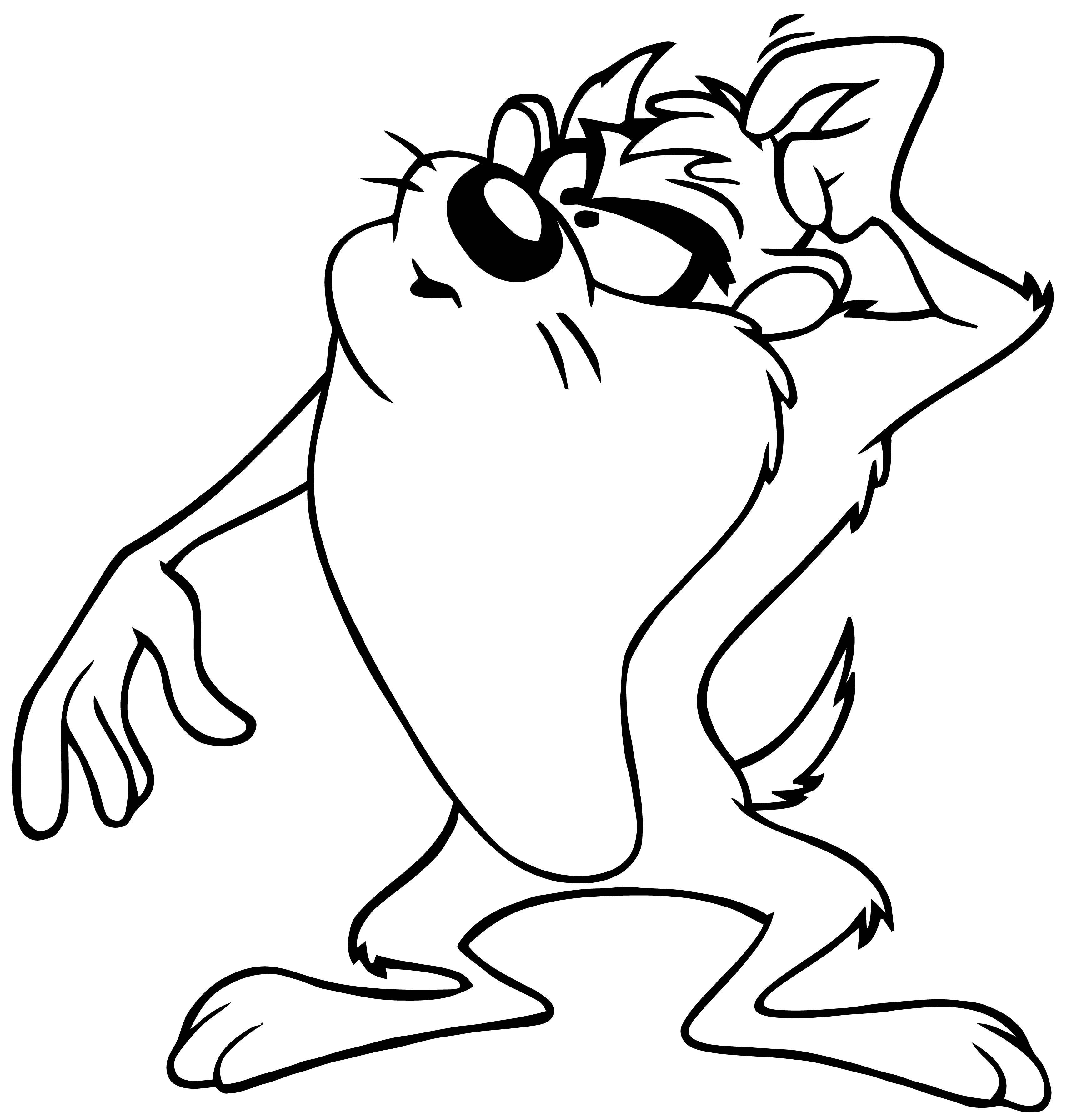 Taz Tasmanian Devil Looney Tunes Thinking Coloring Page