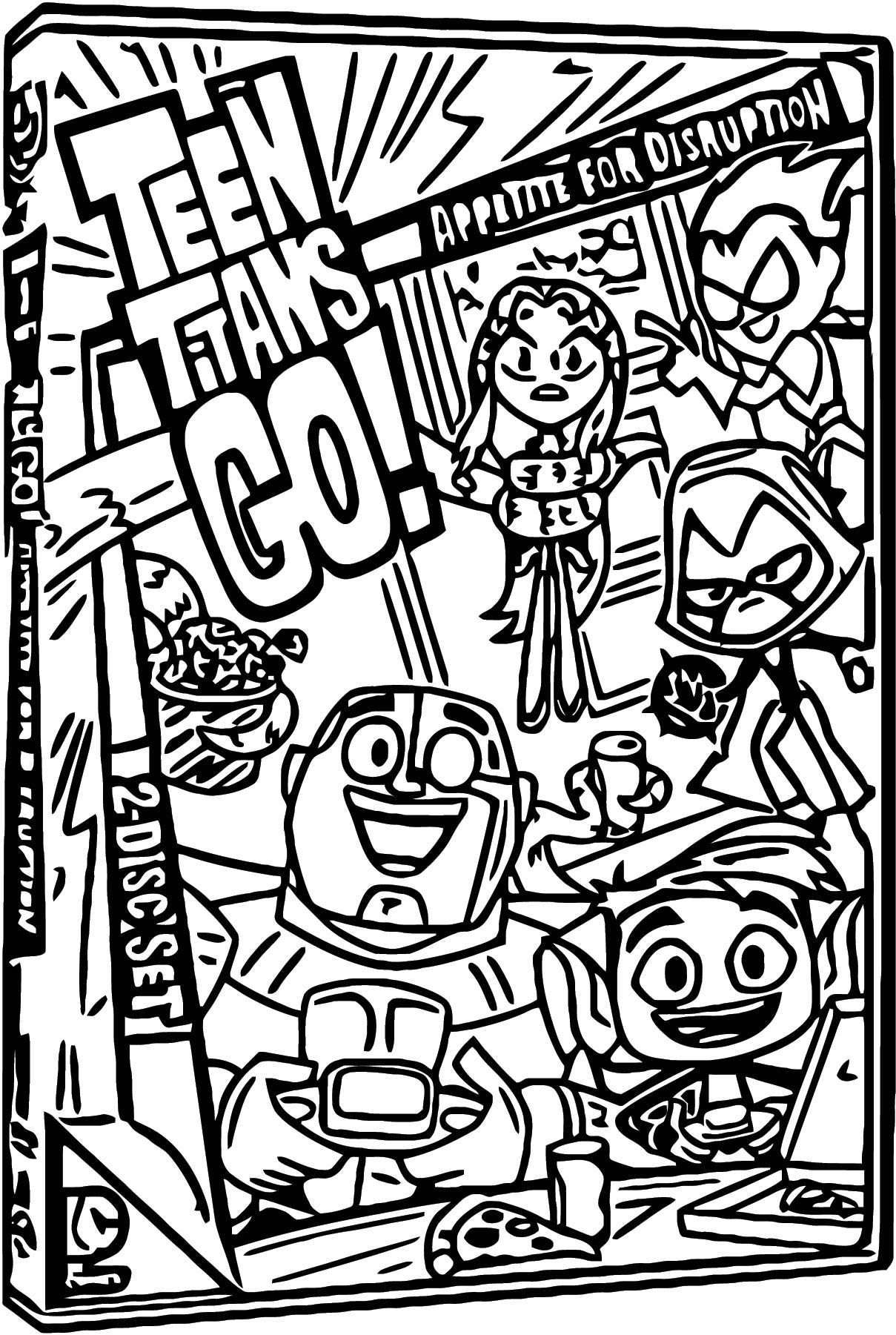 Teen Titans Go Dvd Cover Coloring Page